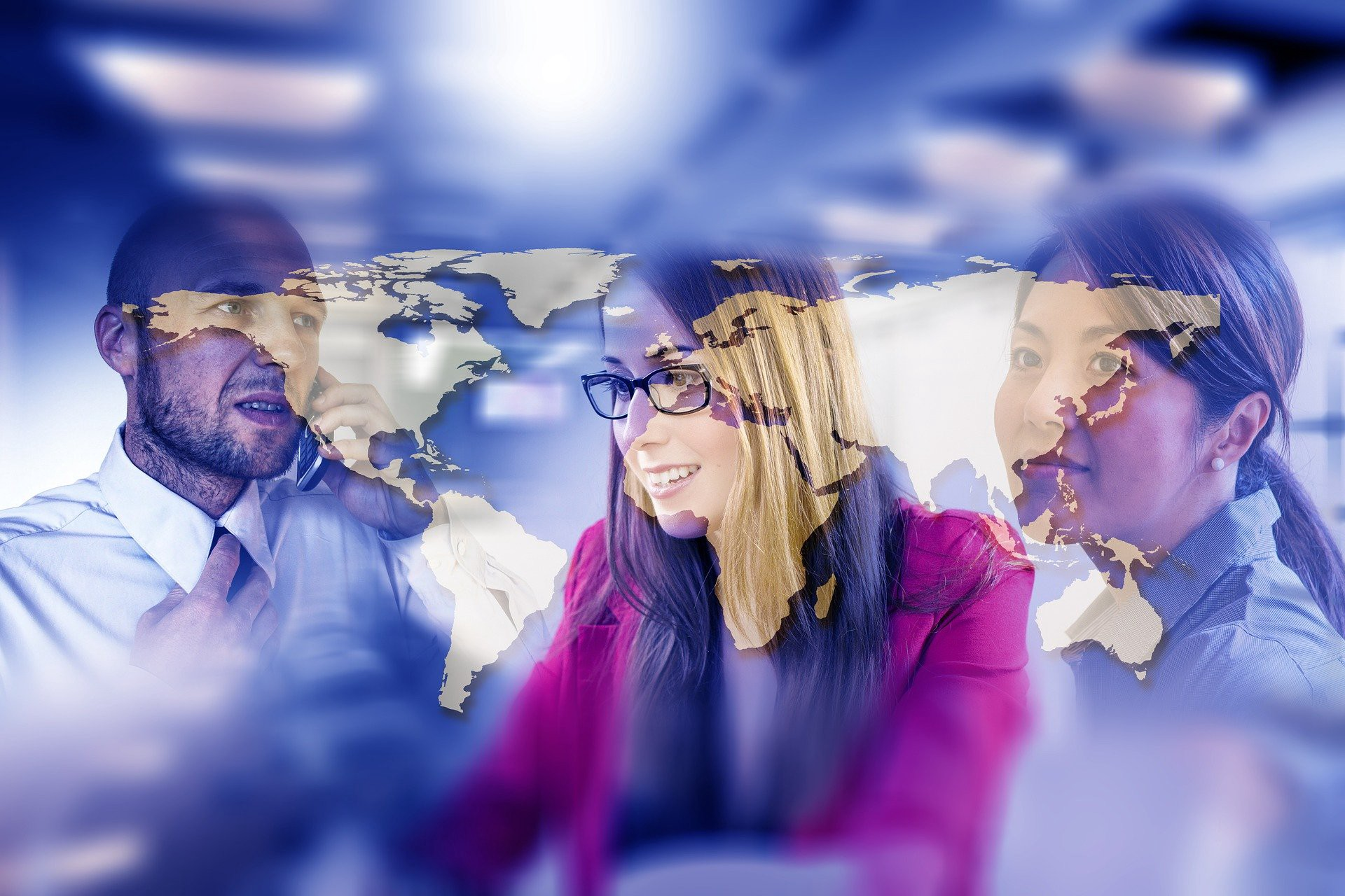 Image of the globe overlays three people at work — Is the way Your Funding Innovation Wrong? by Paul Myers