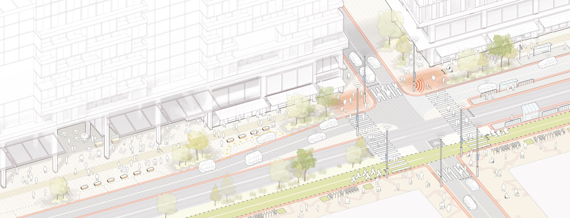 A street diagram shows a set of accessibility features, including wayfinding beacons, wide sidewalks, and curbless streets.