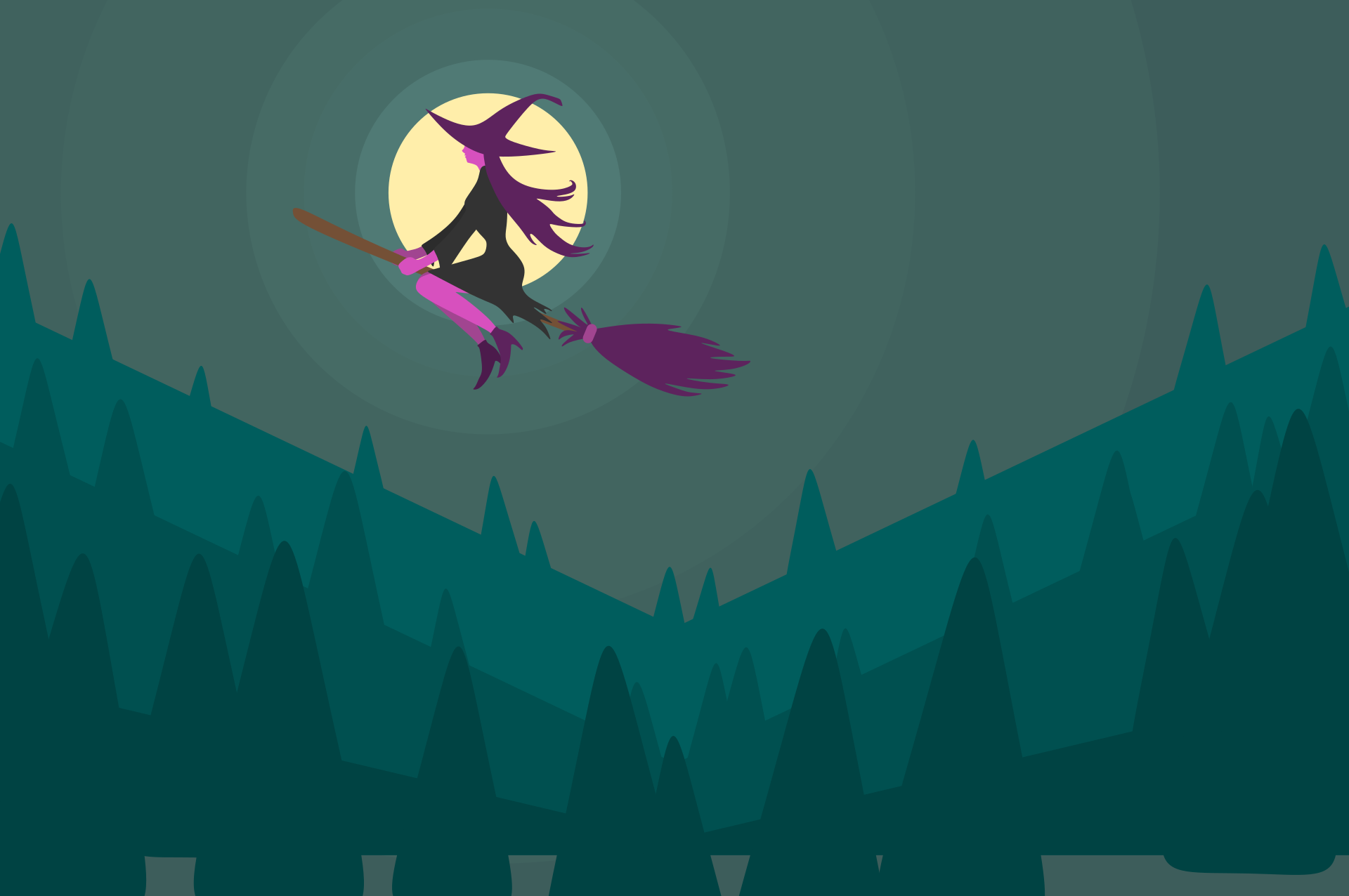 Stylised graphic of a purple witch on a broom flying across a moon above a green forest