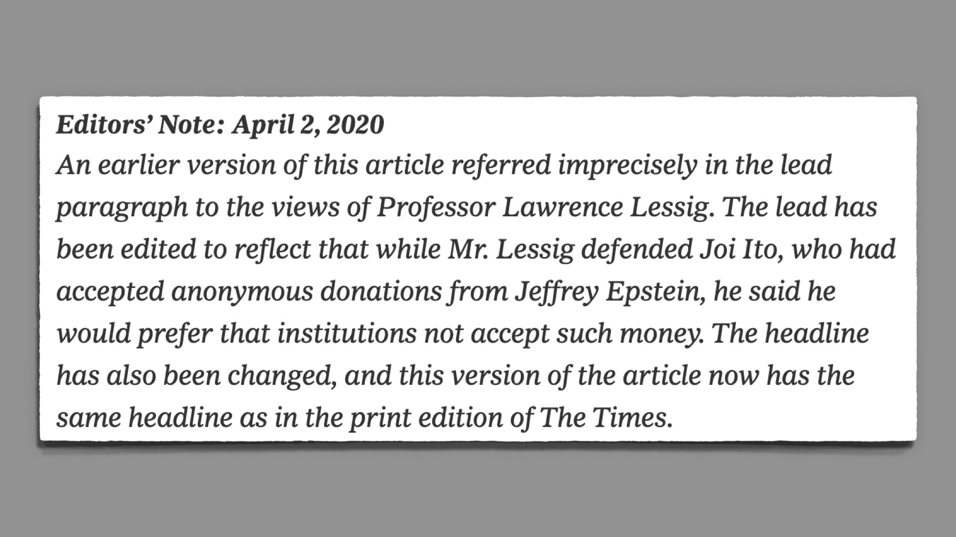 "Editors note acknowledging their ""imprecisely"" conveying views of Lessig."