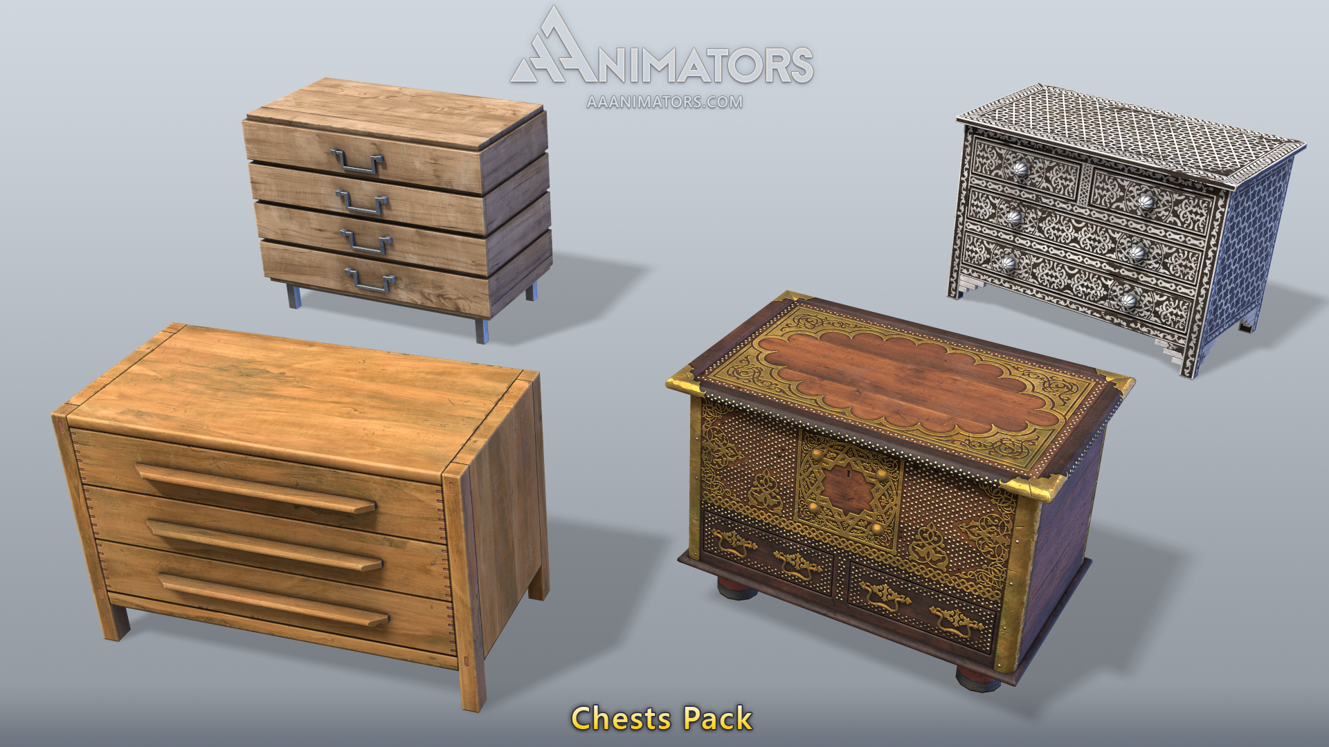 3D Asset Pack: Low Poly Dressers pack - AAA Animators - Medium