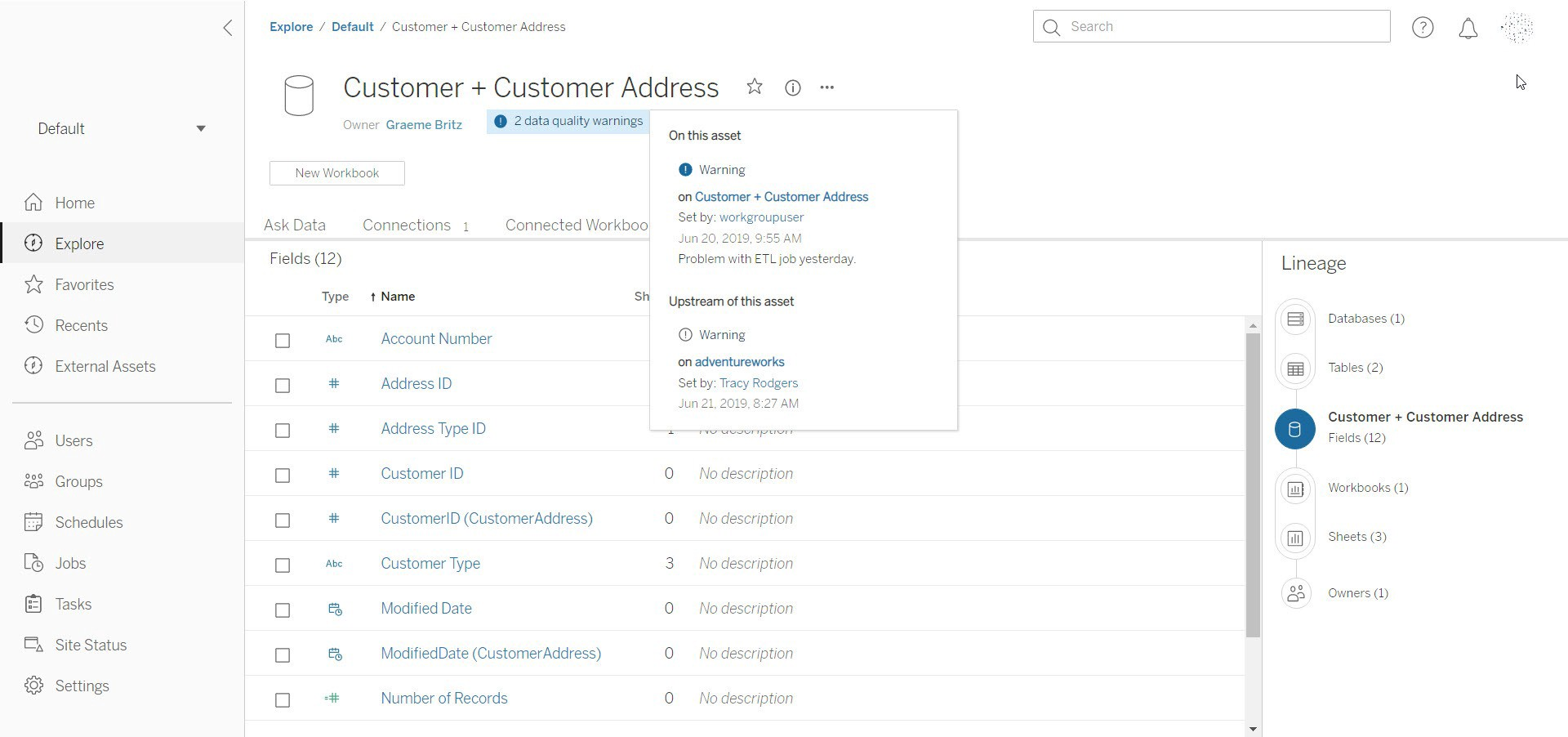 On the improved Tableau Server UI users can see data issue indicators—for all downstream data objects