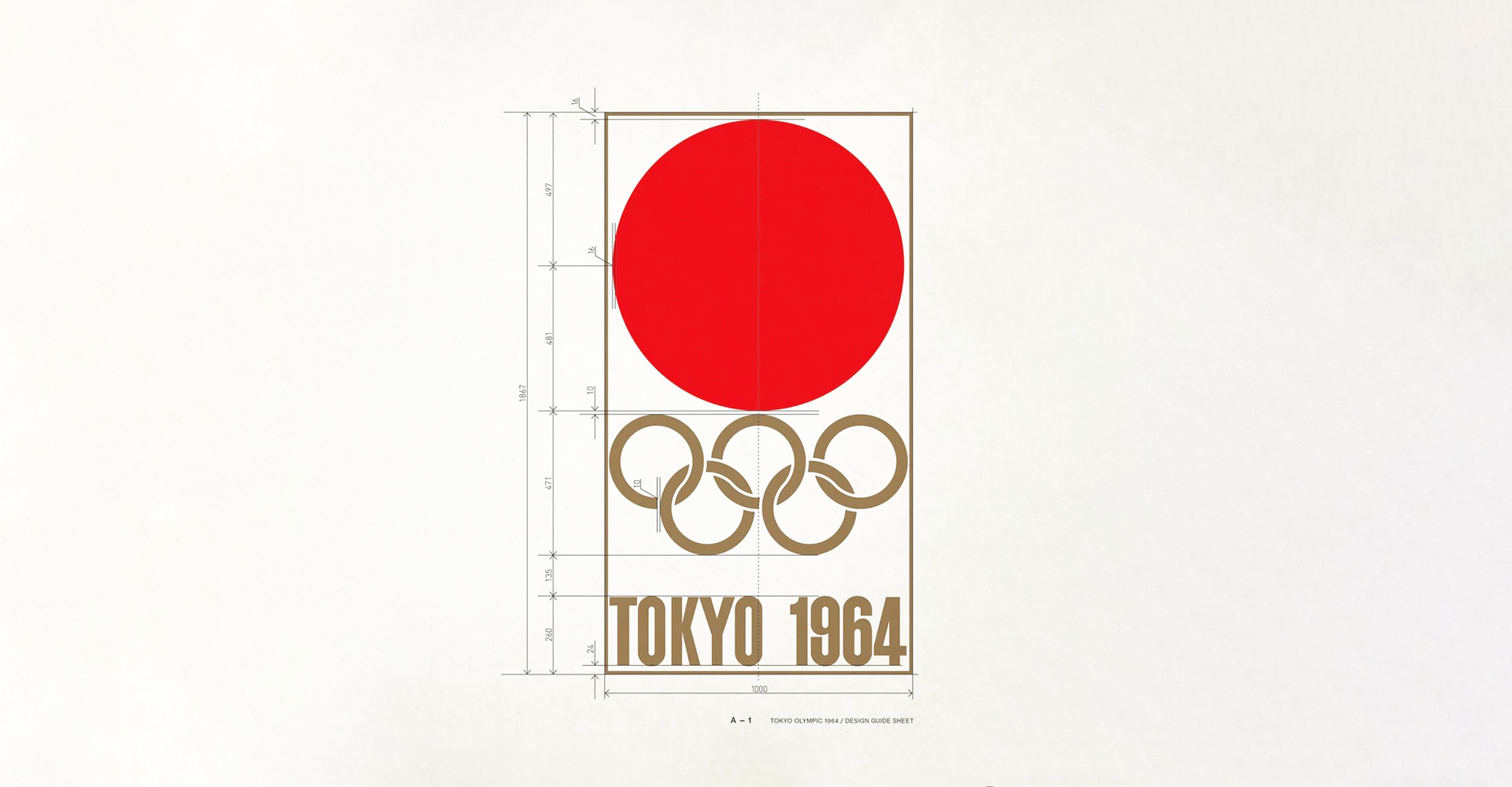 Design sketch for Toyko 1964 logo, red circle with Olympic rings below and 1964 in a bold, condensed font