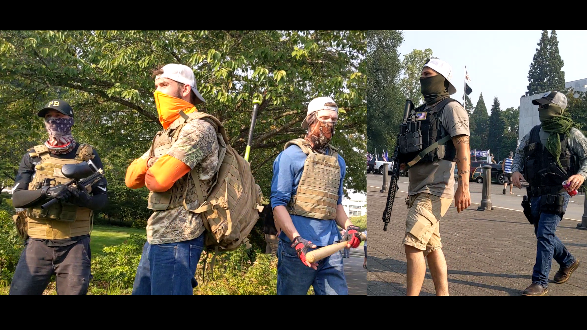 Men in body armor carrying a paintball gun, a baseball bat, and AR-15 assault rifles