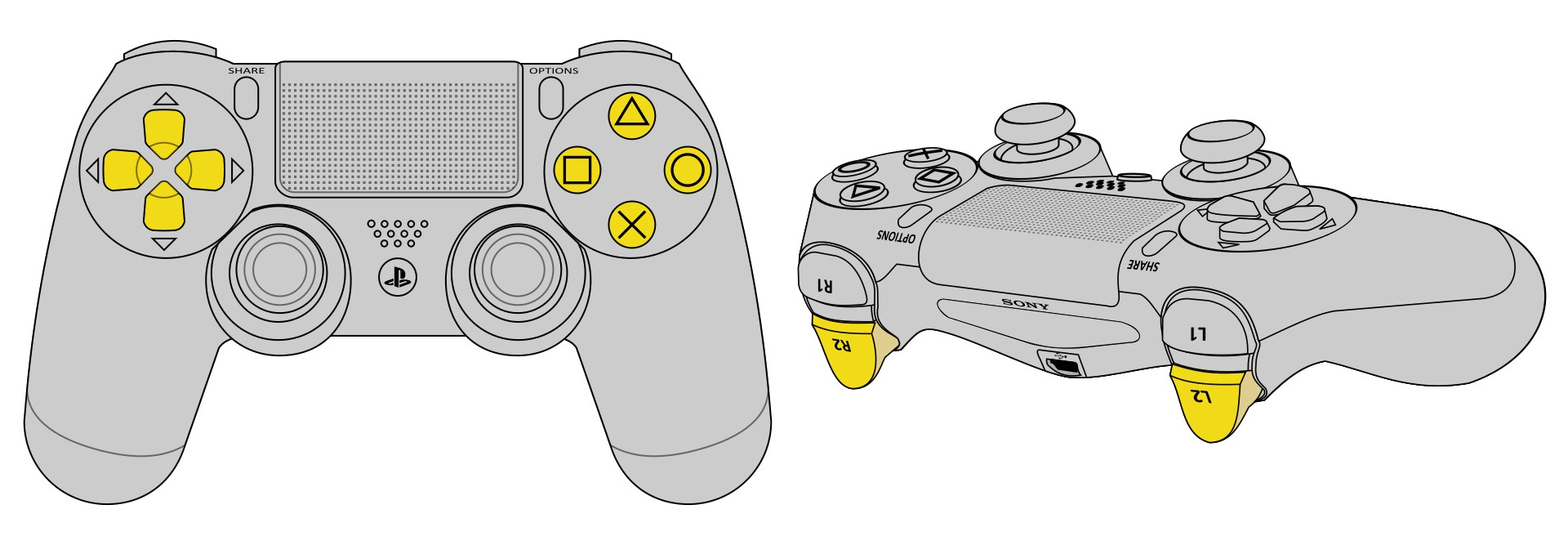 Schematic image showing the Playstation 4 controller, with the 10 relevant buttons highlighted