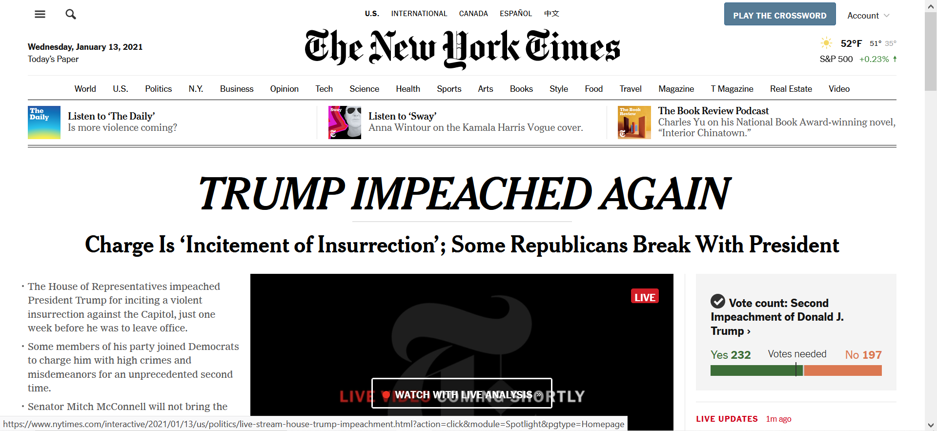 "Front page of nytimes.com showing headline ""TRUMP IMPEACHED AGAIN"""