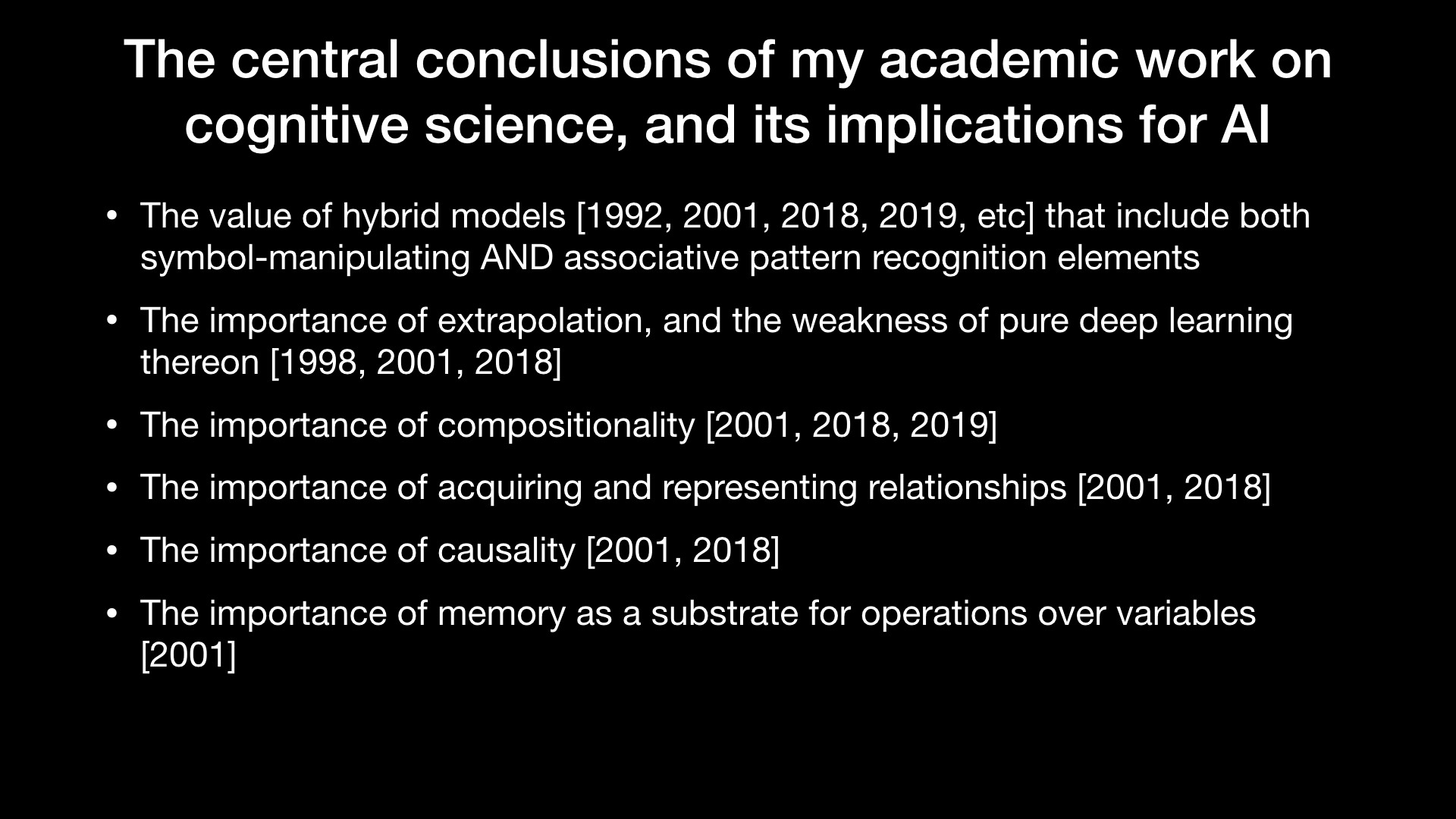 The central conclusions of my academic work on cognitive science, and its implications for AI