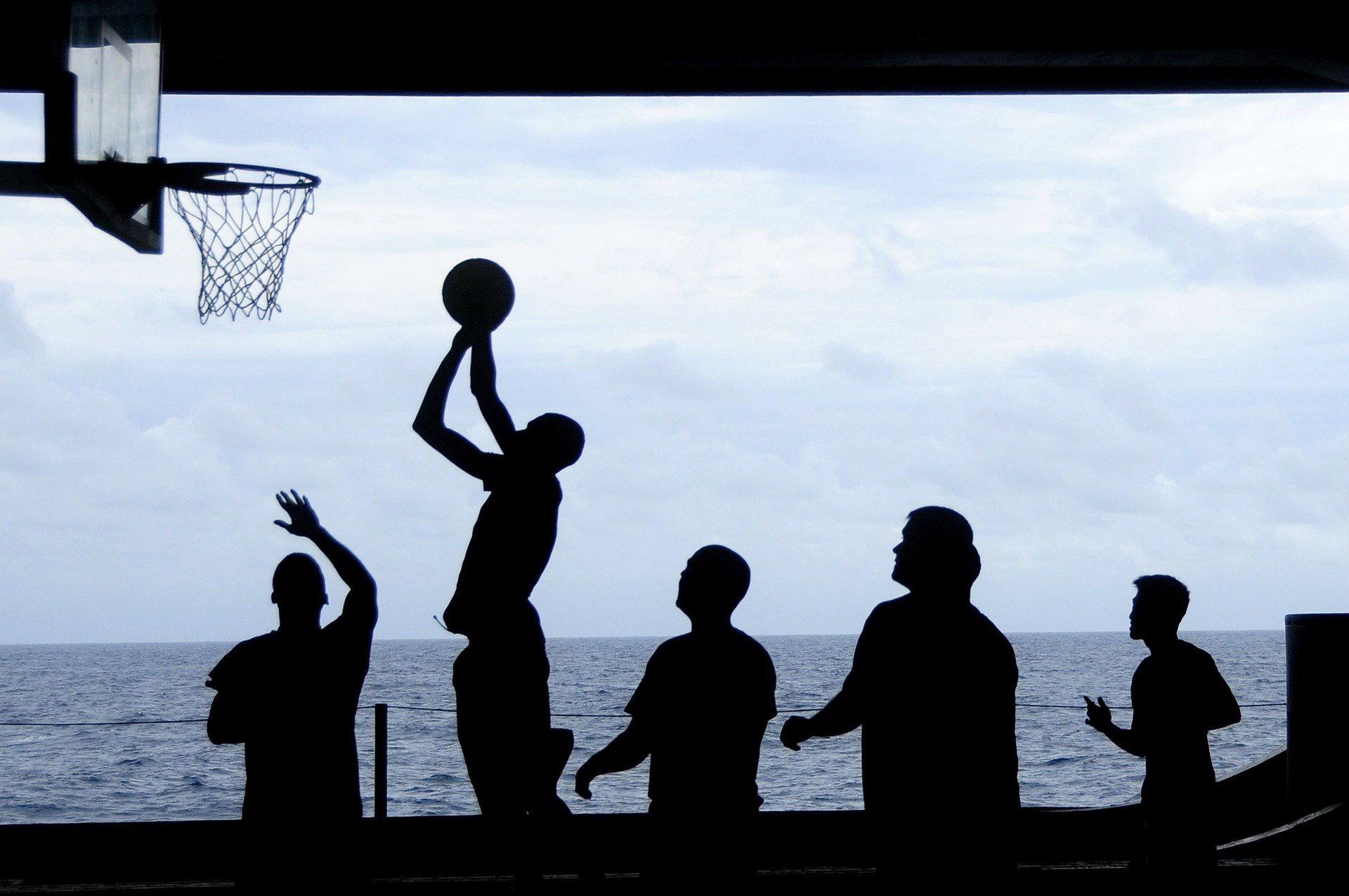 shadow images of basketball game