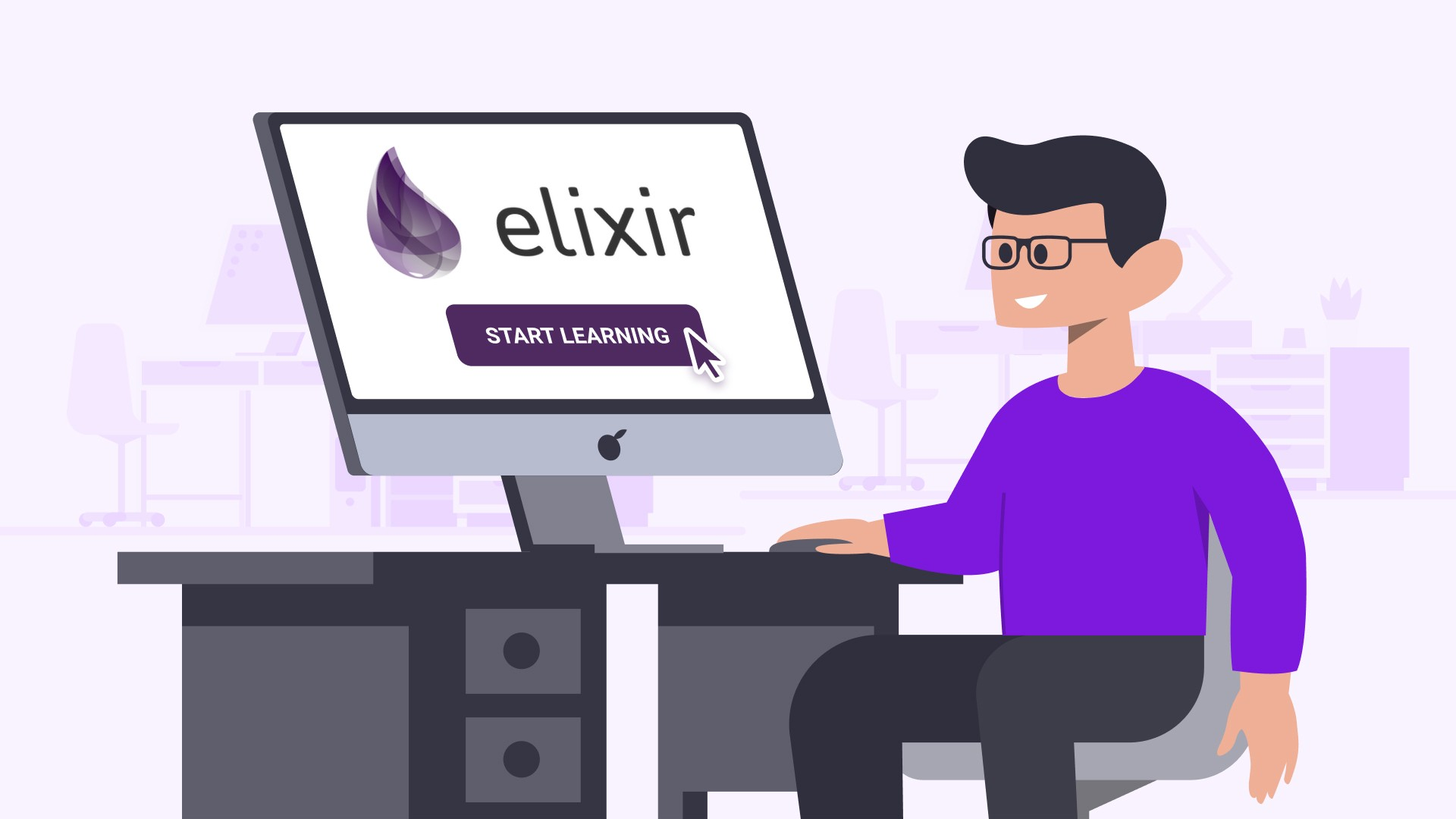 """Person sitting in front of a computer screen that says """"elixir—START LEARNING"""""""