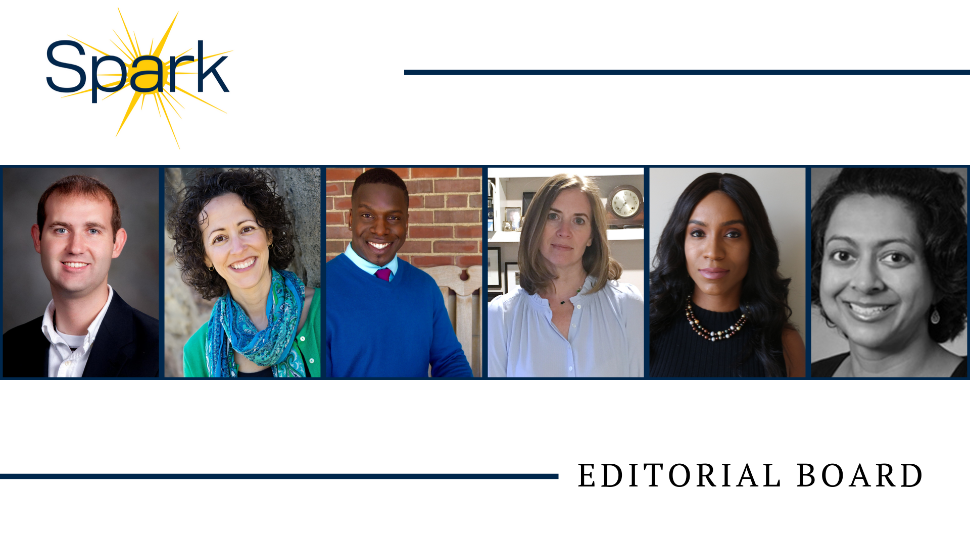 Editorial Board Left to Right: W. Carson Byrd, Annmarie Caño, David Green Jr, Rebekah Modrak, Akilah Wise, Lata Murti