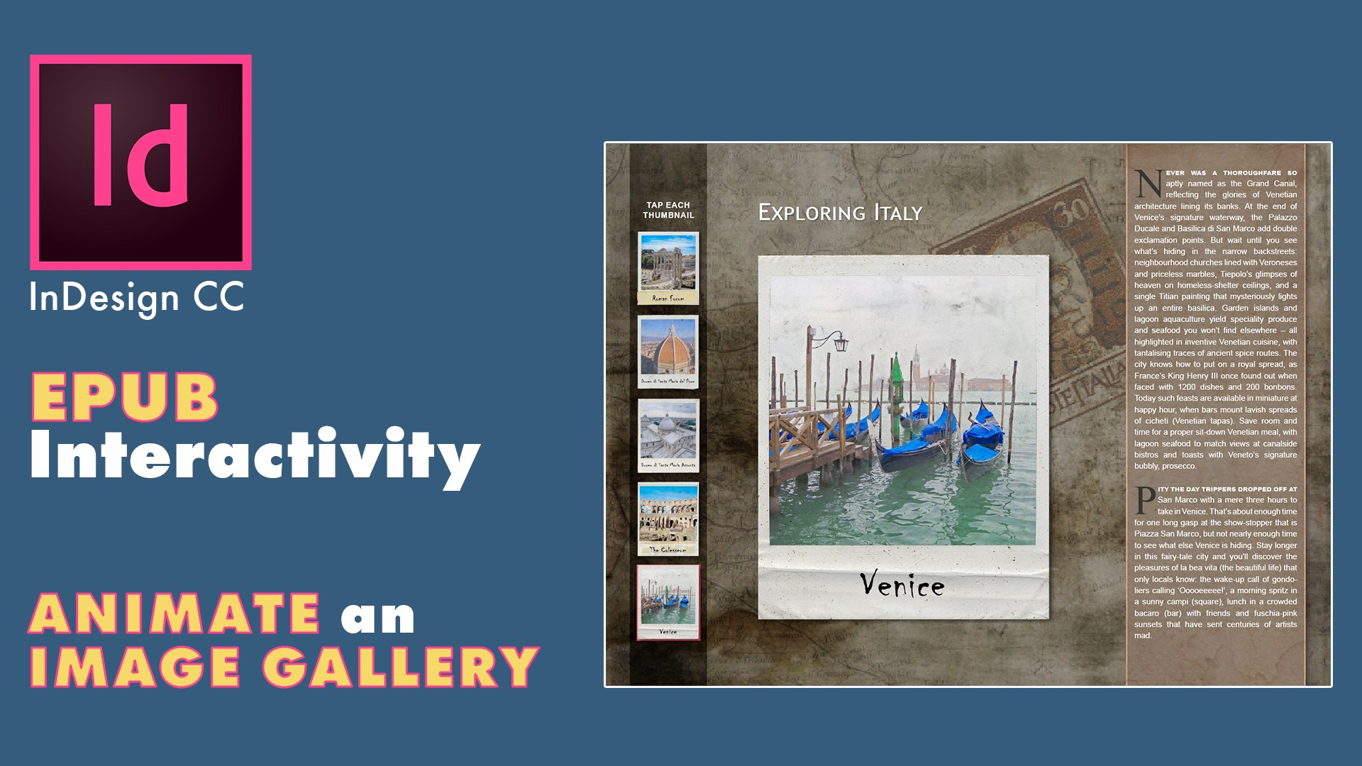 InDesign CC EPUB Interactivity — Animate an Image Gallery