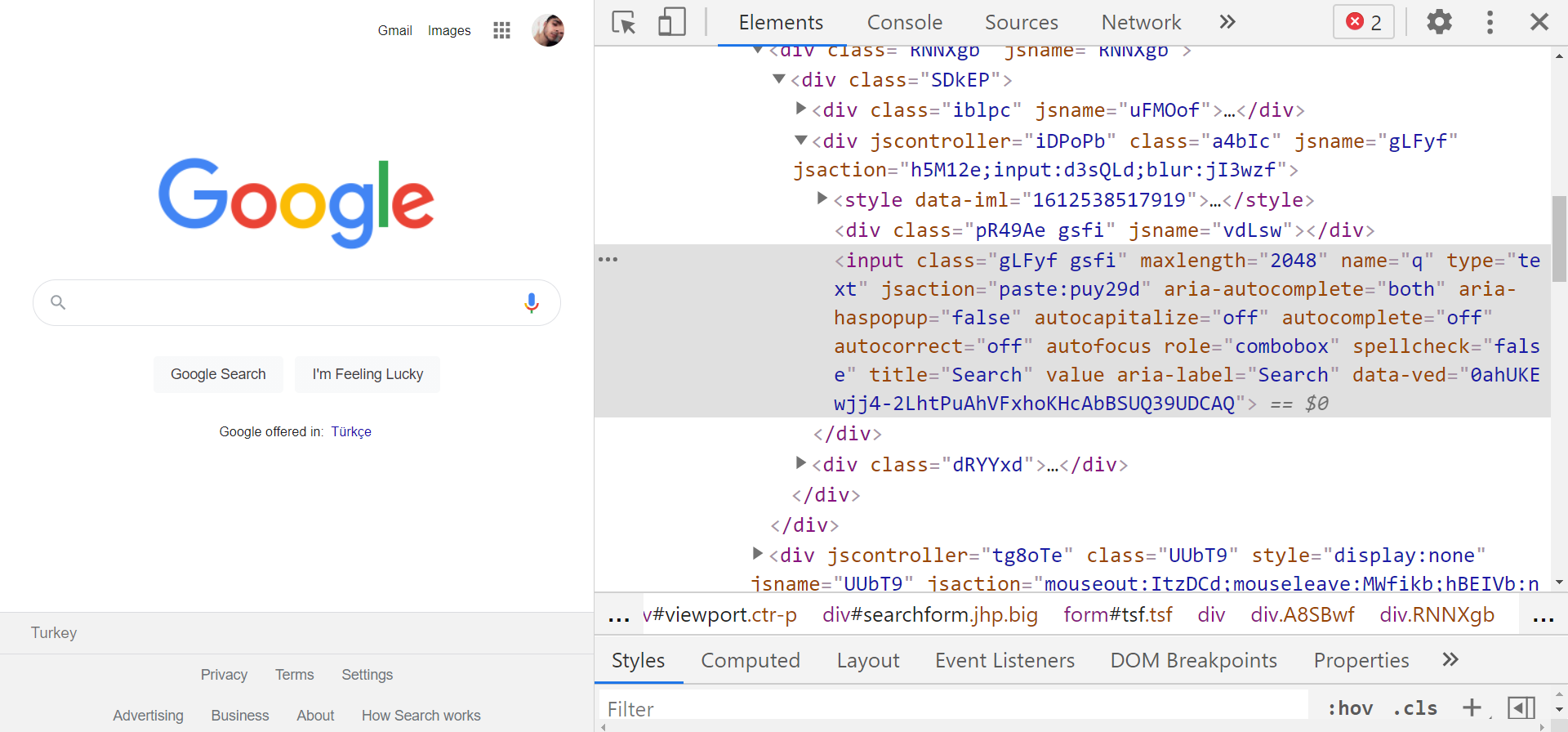 Chrome DevTools showing HTML of search box.