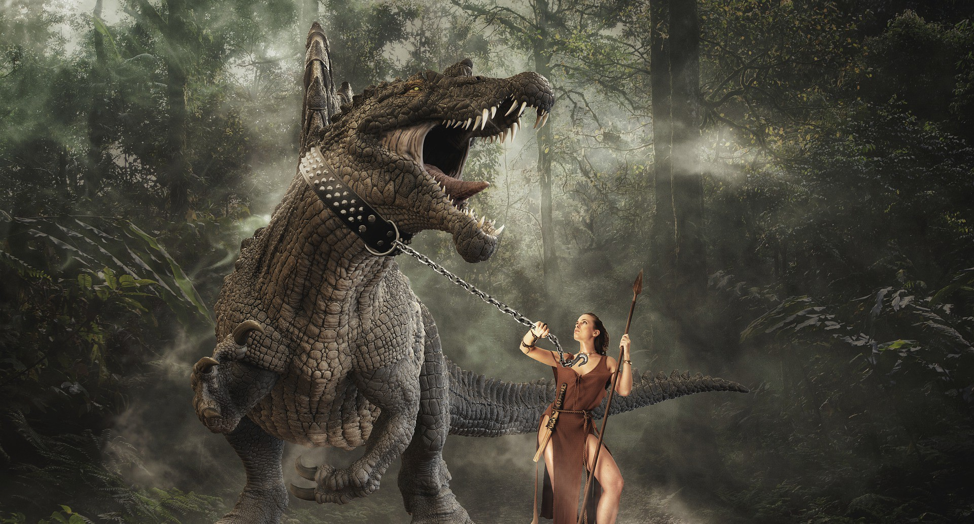 Beautiful young woman taming a Tyrannosaurus Rex with a chain around its neck