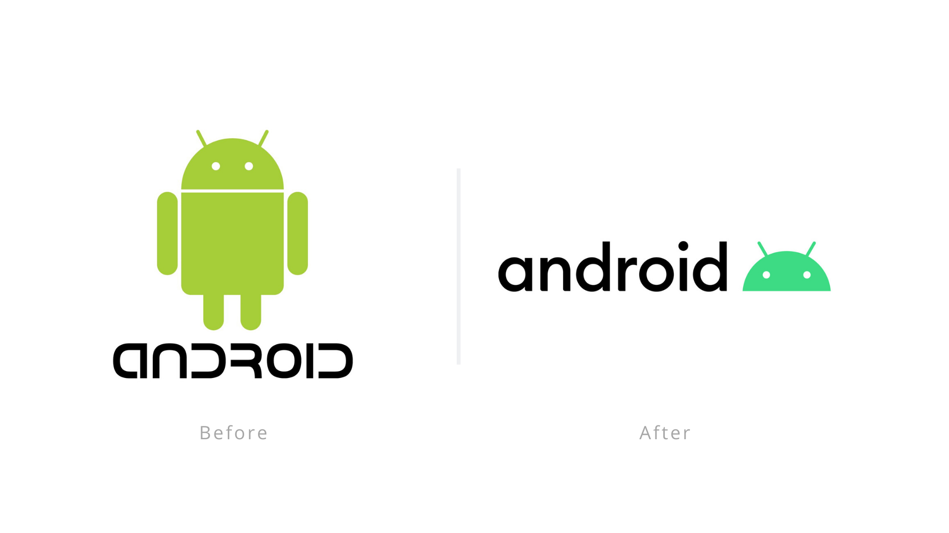 Android logo before and after image