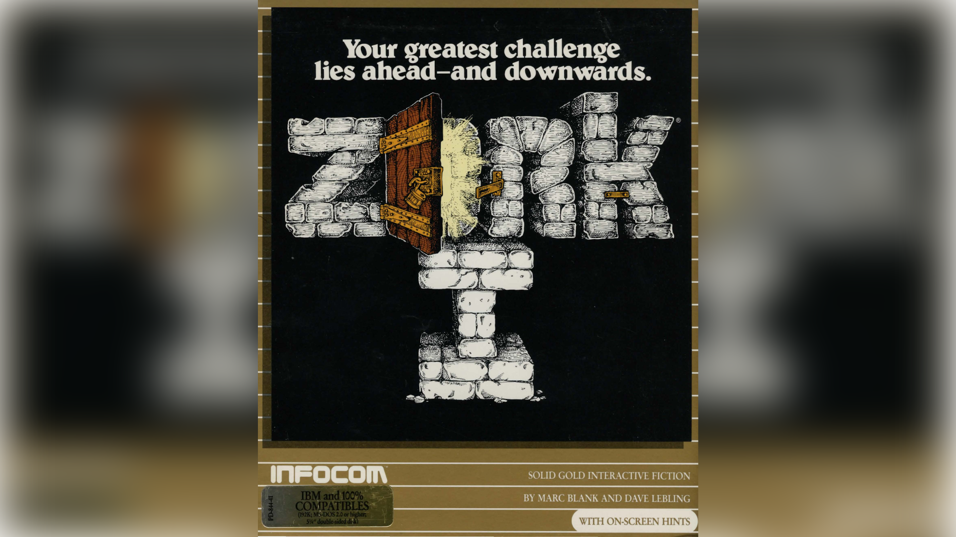 """The Zork game cover art with the text """"Your greatest challenge lies ahead and downwards""""."""
