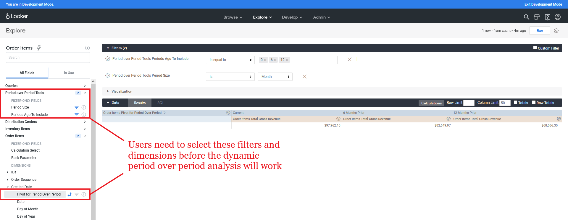 Image of Looker's User Interface with multiple fields and dimensions selected