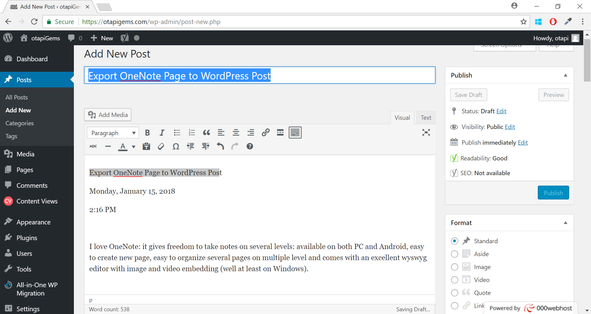 Export OneNote Page to WordPress Post - Barnabás Nagy - Medium