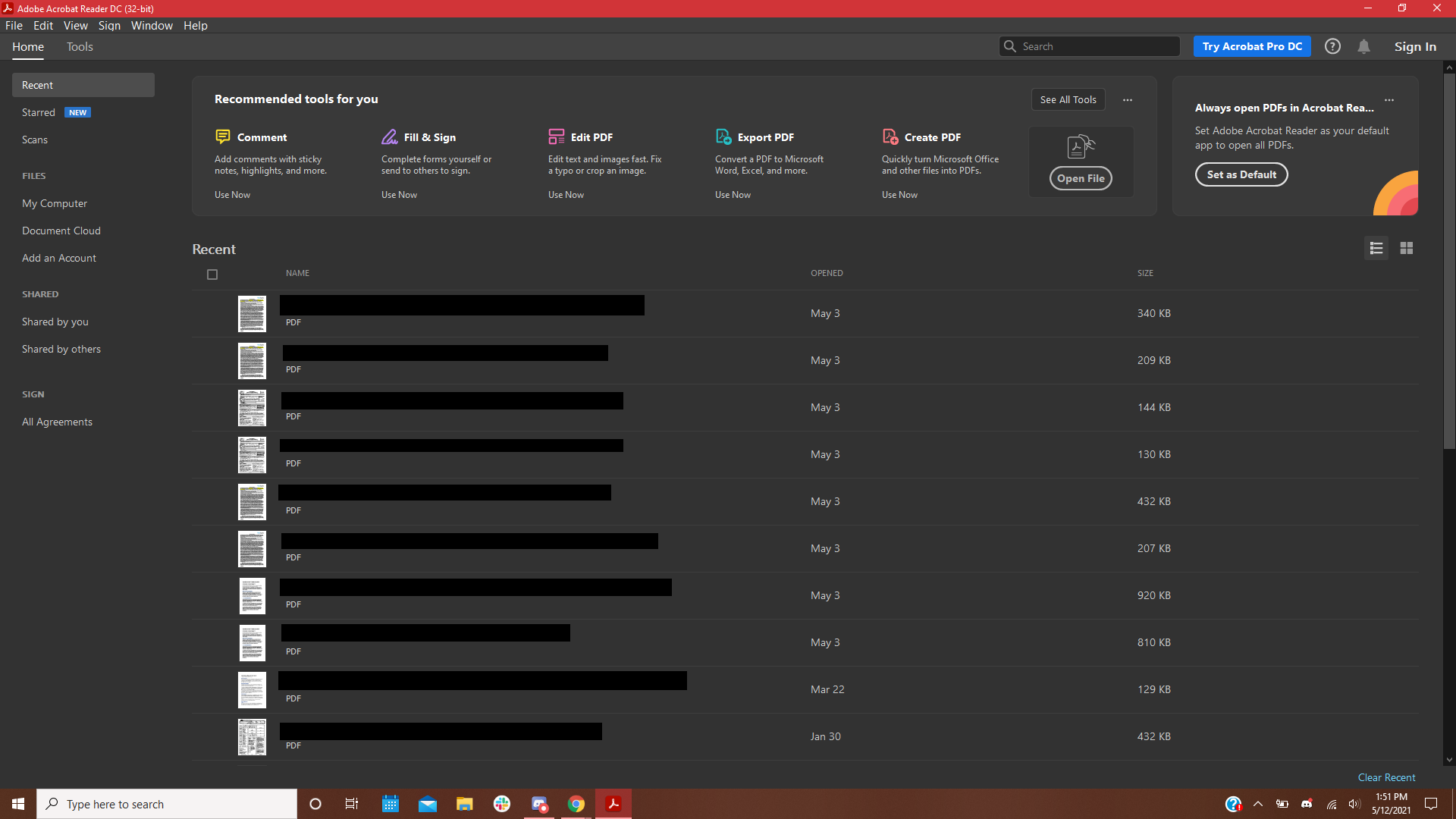 A screenshot of the Adobe Acrobat homescreen, displaying various options for opening and editing documents.