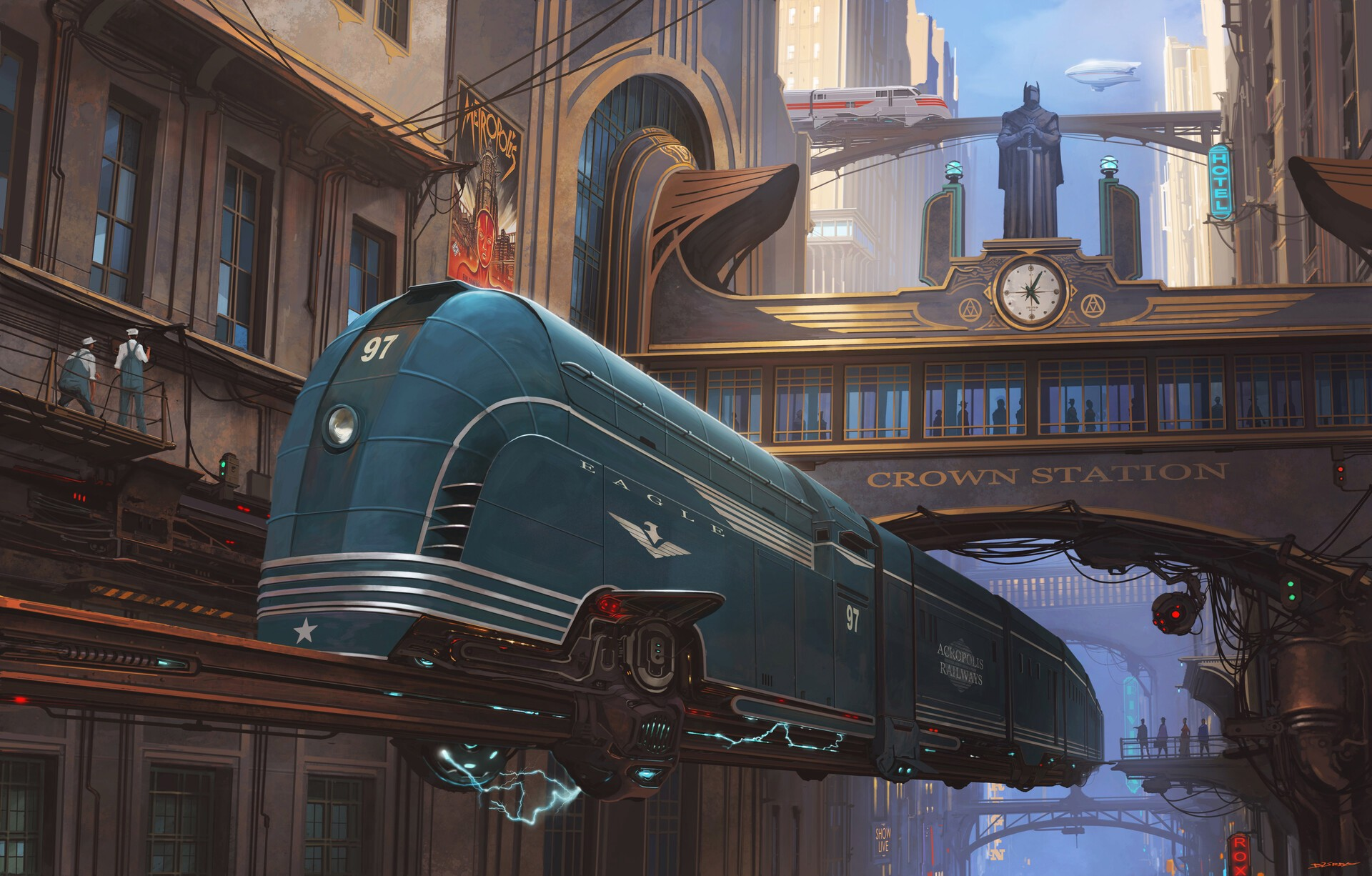 Dieselpunk elevated train in art deco station.