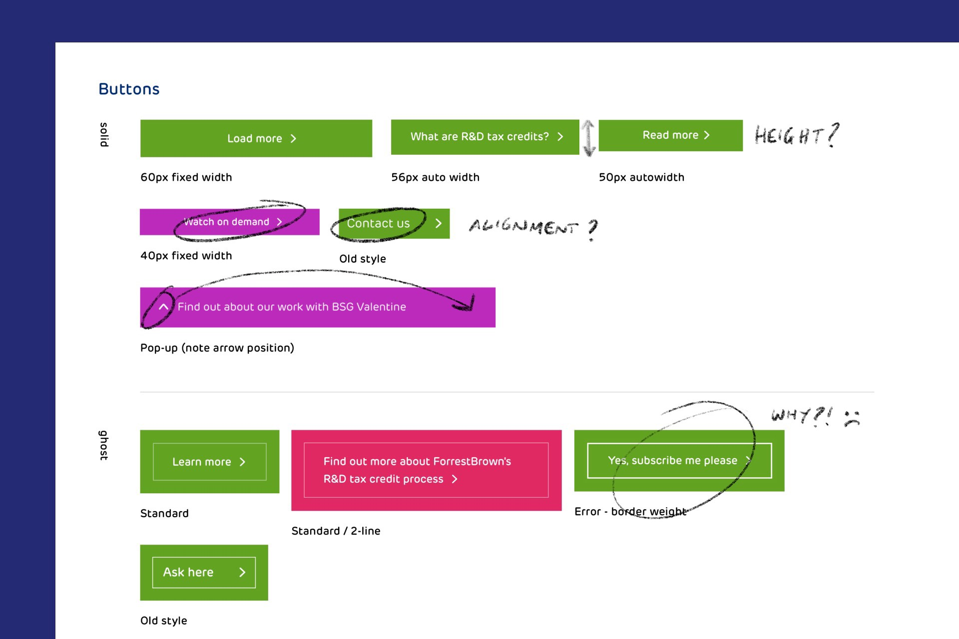 Detail of the design audit with annotated components