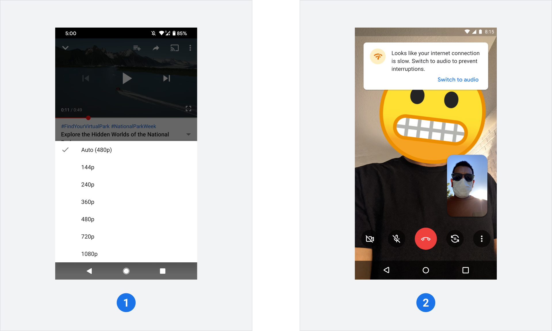 #1 YouTube bitrate streaming speeds from 144 to 1080p, #2 Cartoon character and masked man in video call
