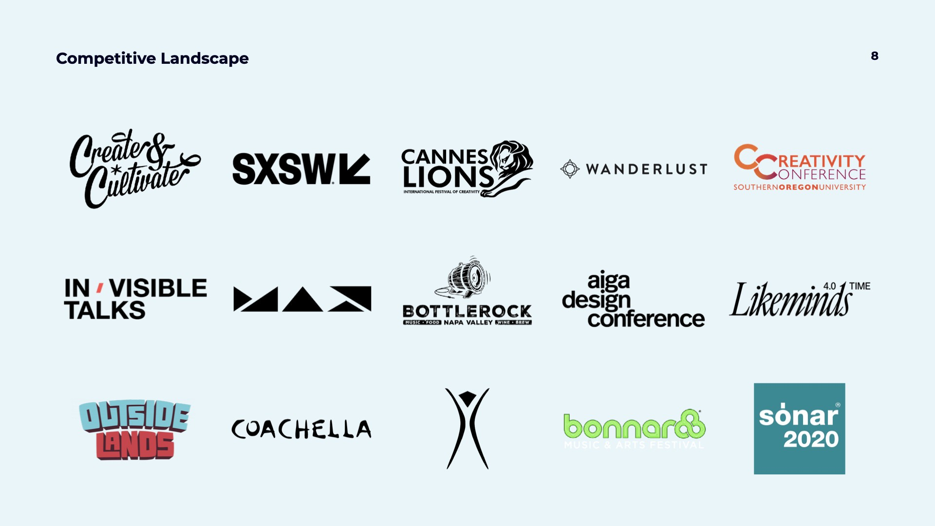 Grid of logos showing the competitive landscape for creative festivals