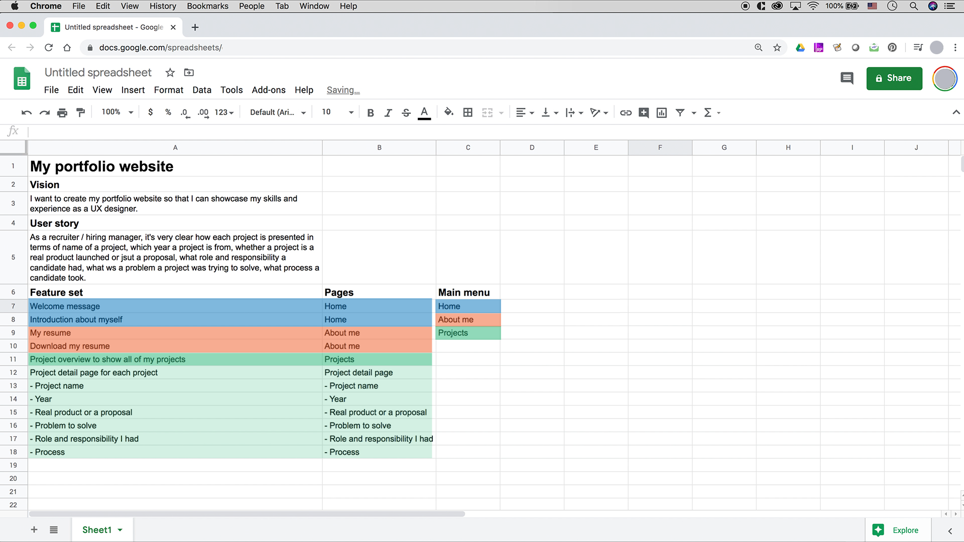A screenshot of Google Sheets showing main menu and feature set for each page, color-coded.