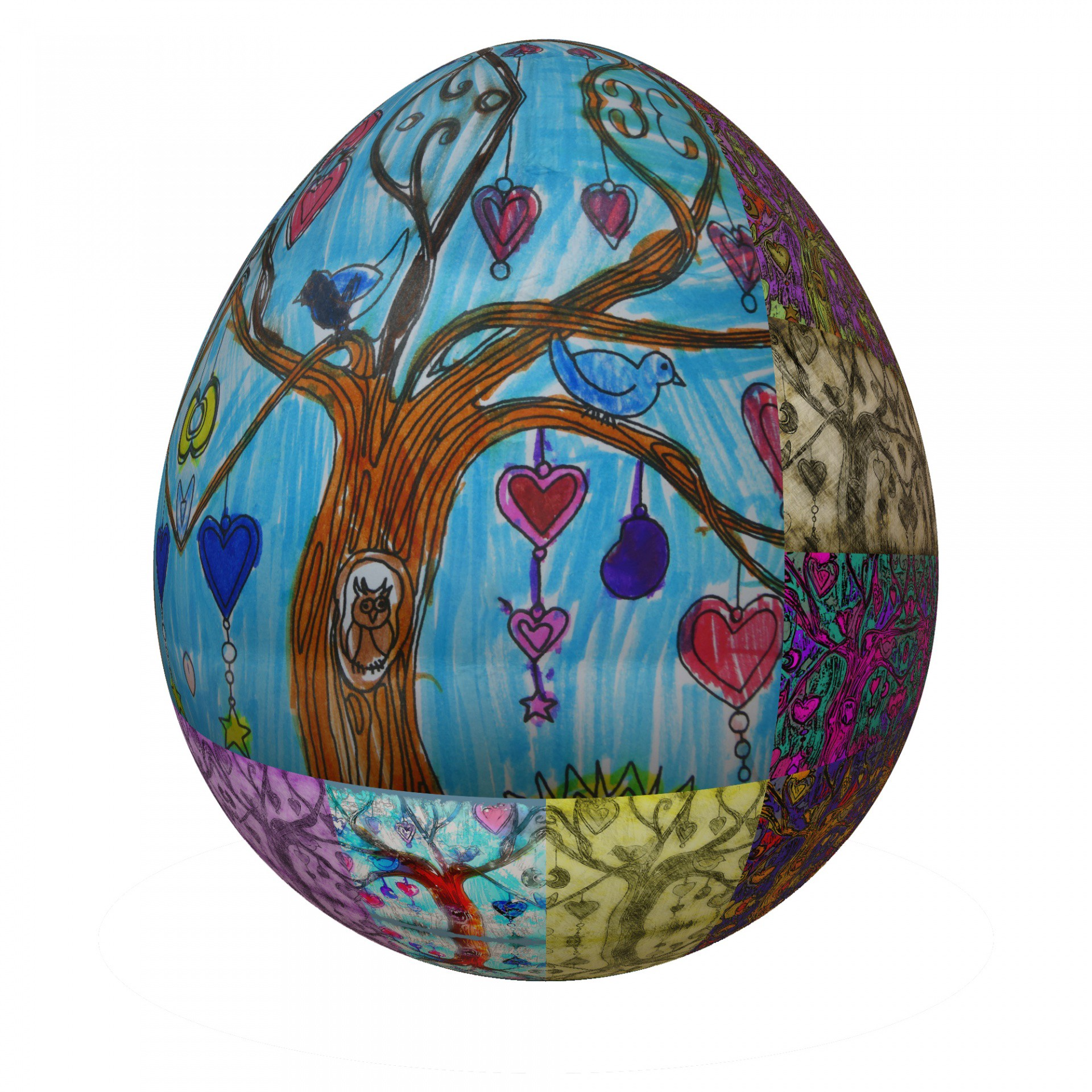 An antique Easter egg with hand-drawn images of a tree, an owl, and hearts