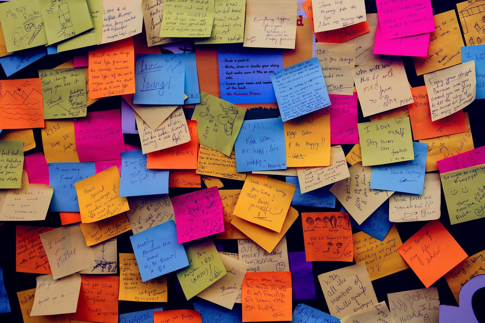 A haphazard collection of post-it notes on a wall.