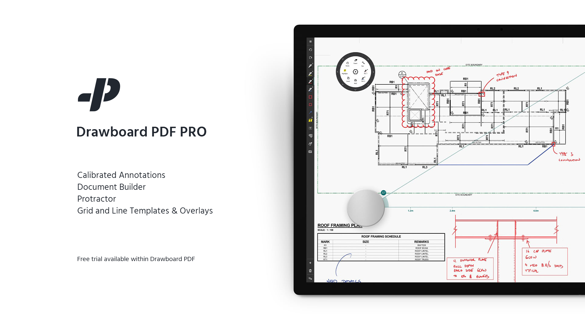 Drawboard PDF PRO: advanced PDF features and Surface Dial integration