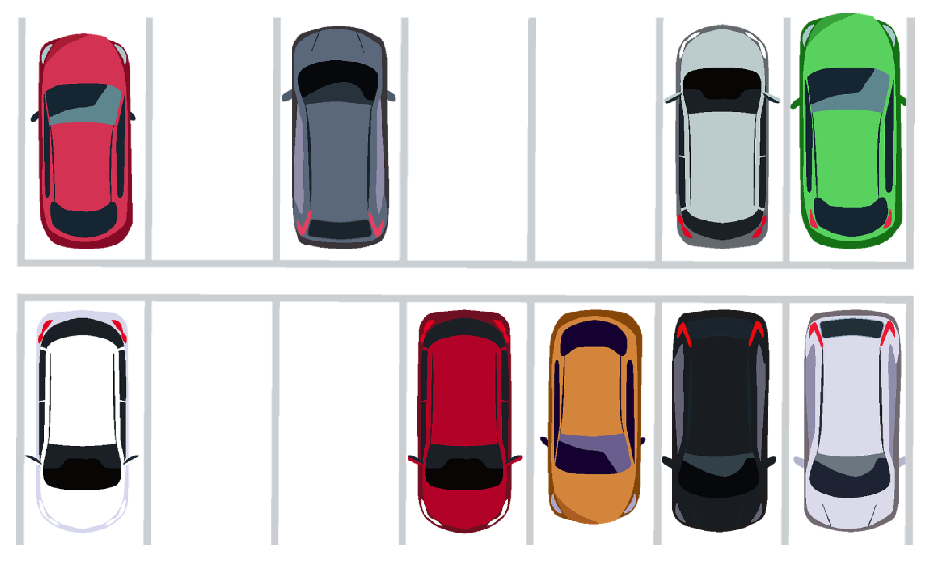A parking lot, with both parked cars and free parking spots