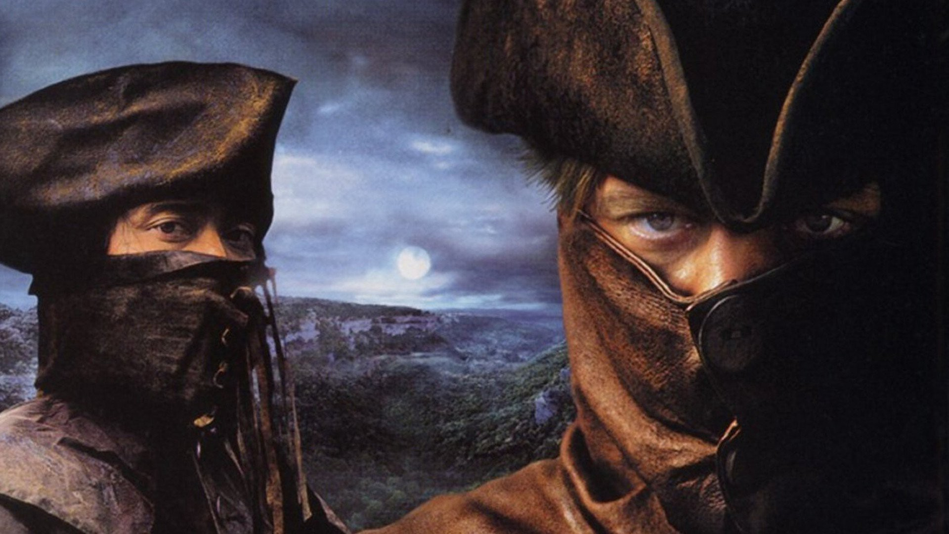 Poster of Brotherhood of the Wolves. Samuel Le Bihan and Marc Dacascos are both covered with high leather neck and hat.