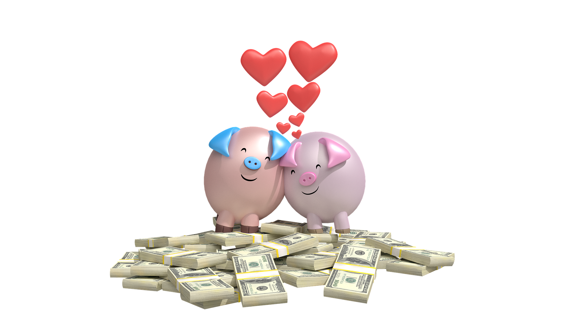 A male and female piggy bank are rubbing against eachother while standing on a pile of cash.