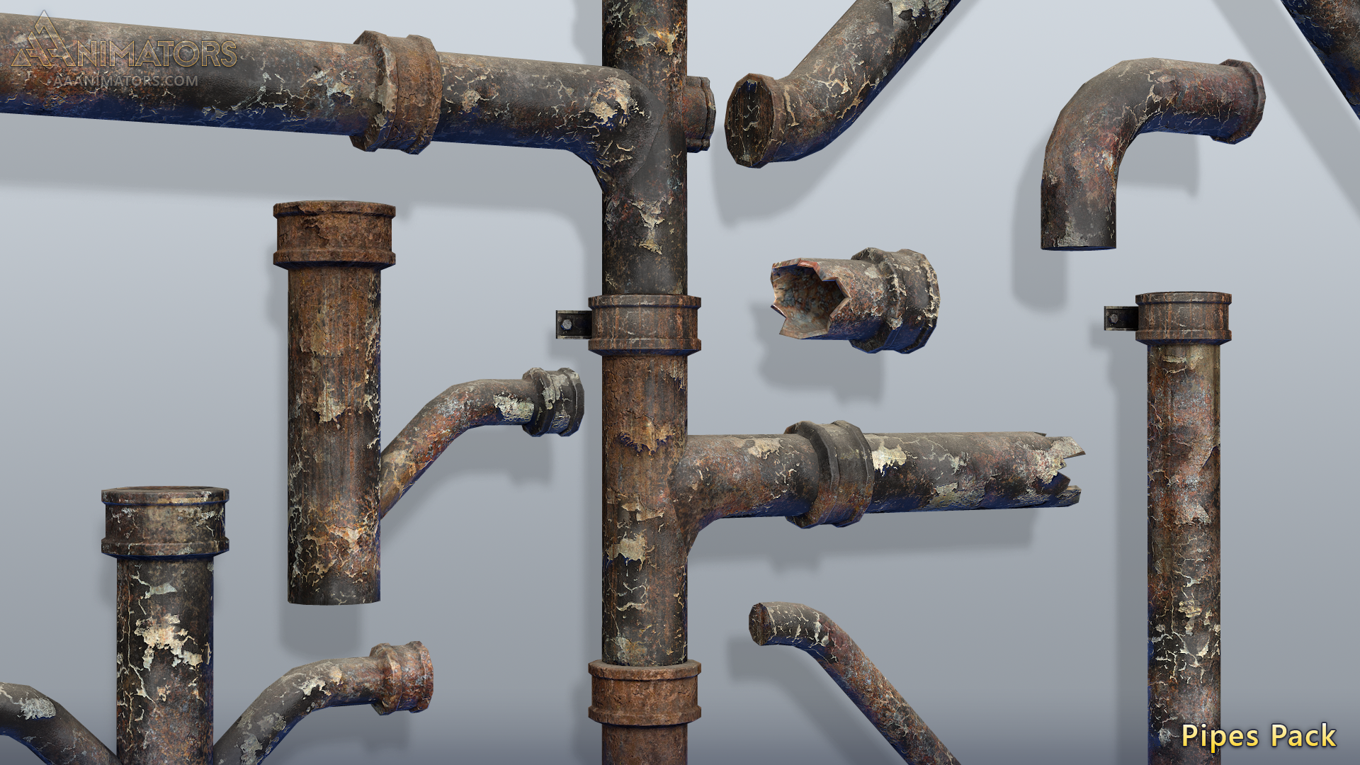 3D Asset Pack: Low Poly Pipes Pack 1 - AAA Animators - Medium