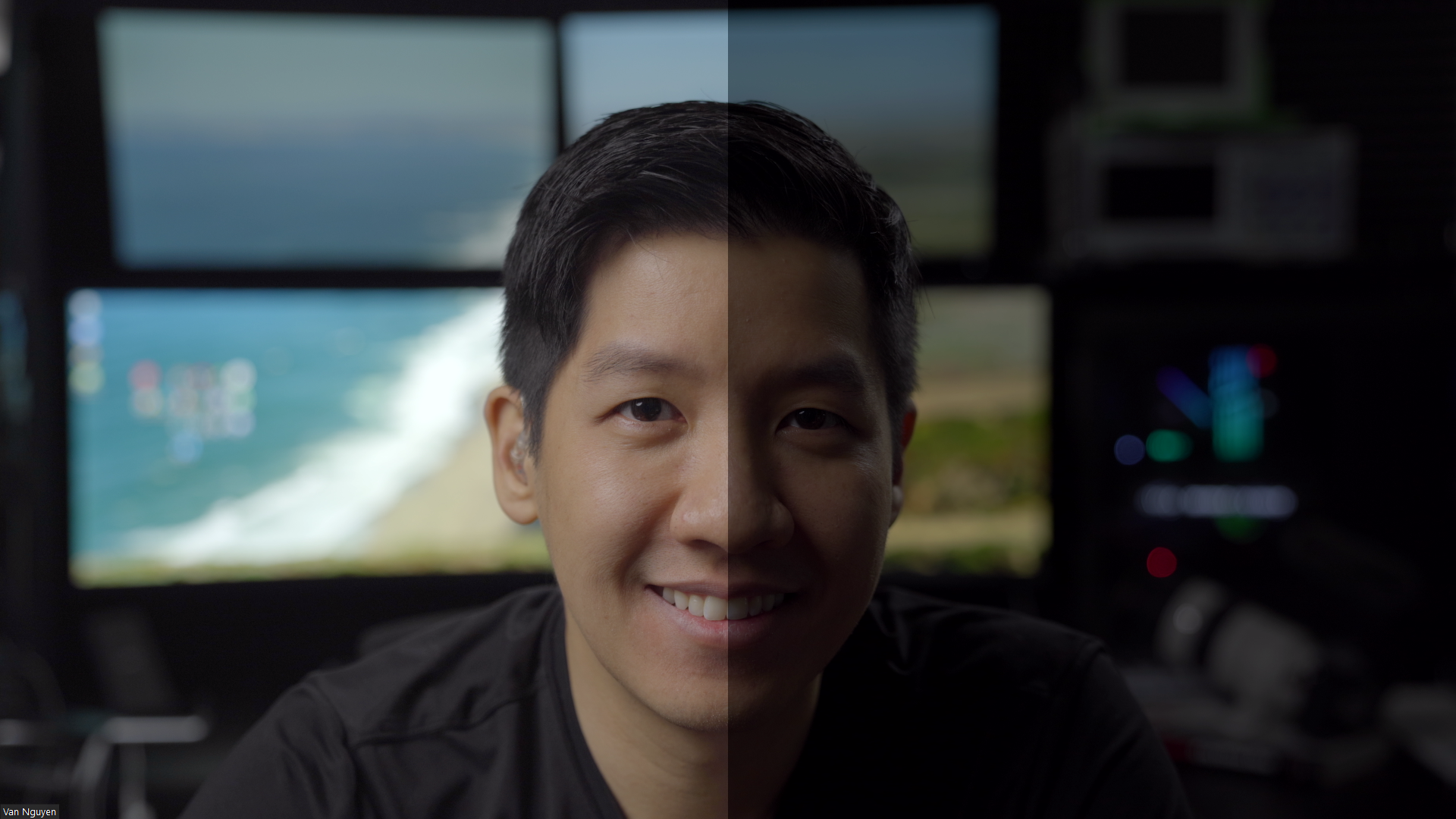 Example of color grading using a LUT. Right is before grading, left is after grading. Performed using an Atomos Ninja V with