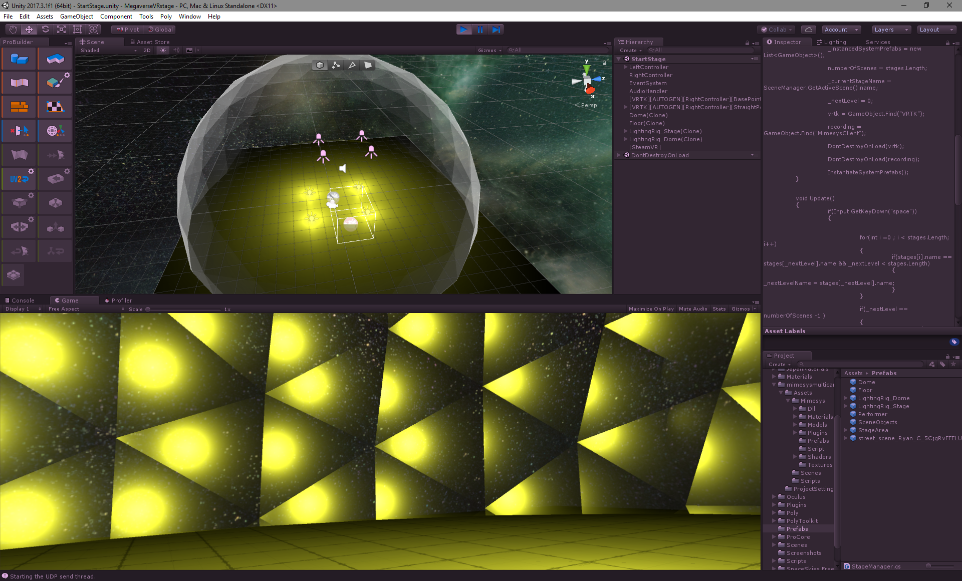 """Grassroots Holodeck"""": Building a virtual stage in Unity for mixed"""
