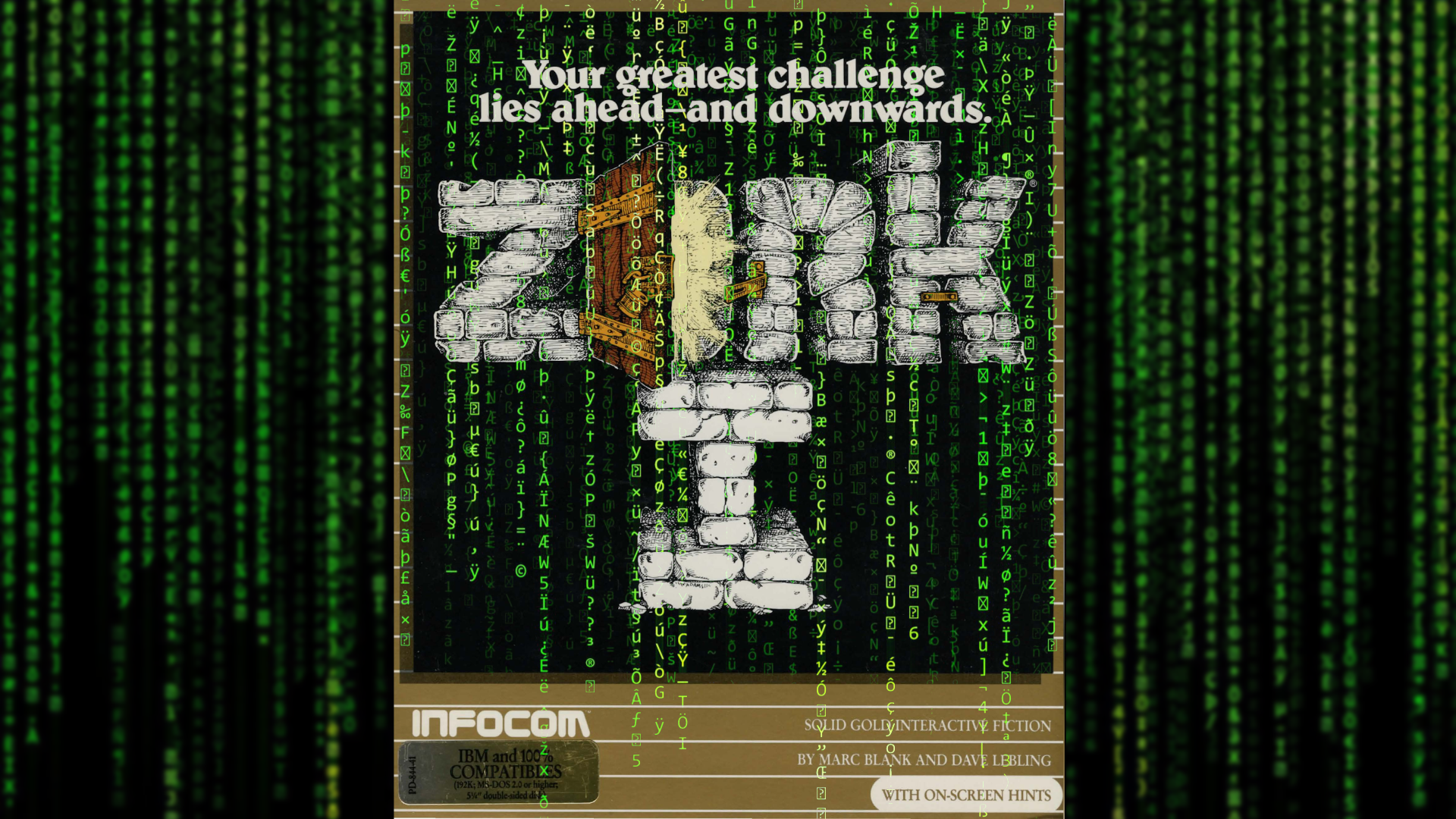 Zork cover art overlayed with the code from The Matrix.