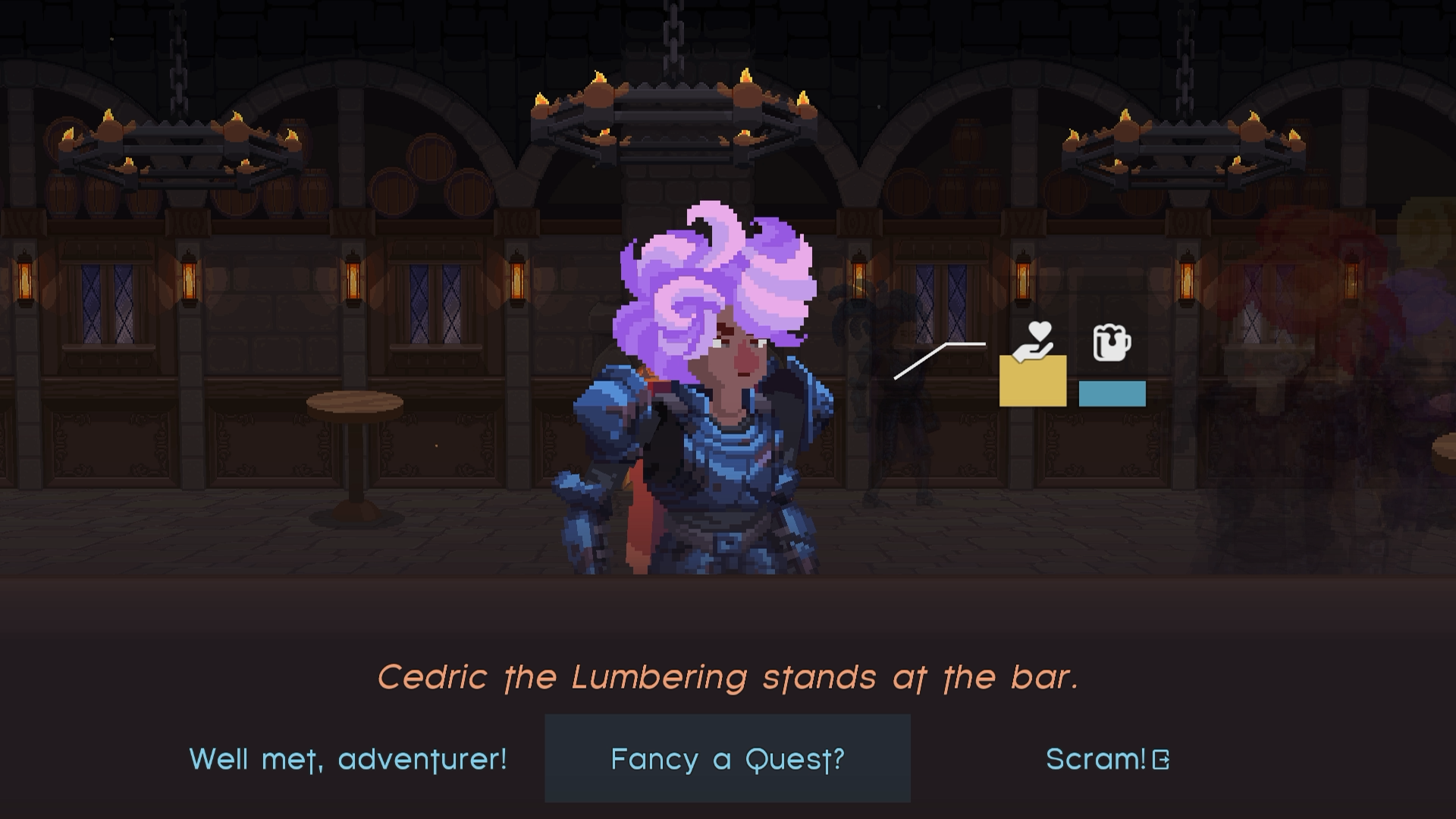 "A purple-haired hero stands at the bar, with dialogue options shown: ""Greetings"", ""Fancy a Quest?"", and ""Scram!"""