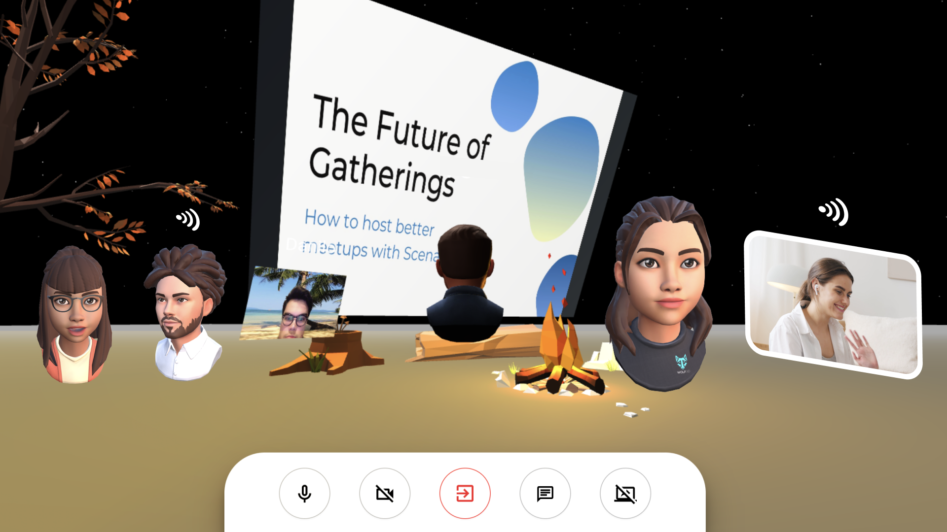 A preview of people gathering in Scena 360 and discussing the future of virtual gatherings.