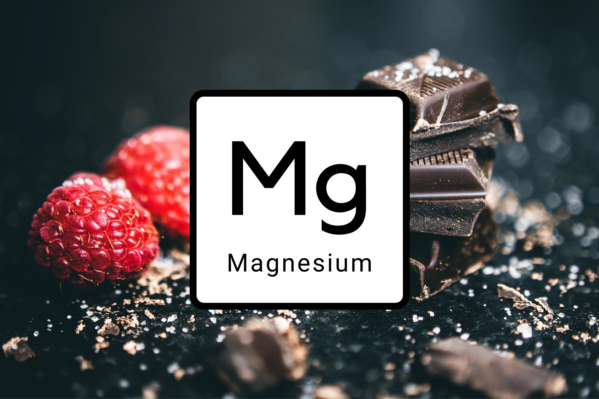 Magnesium in front of berries and chocolate