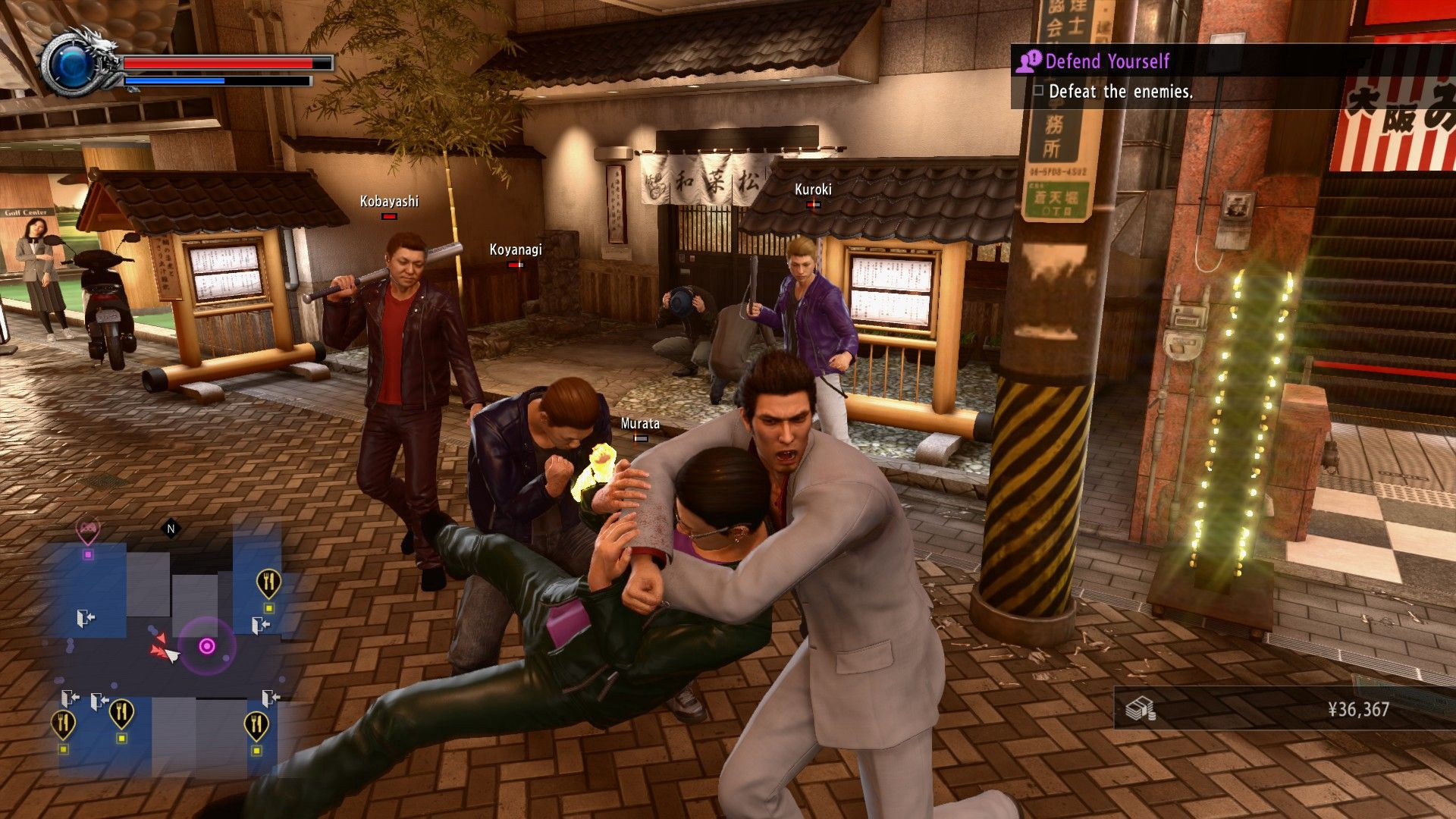 A picture of Kiryu throwing a man into other men