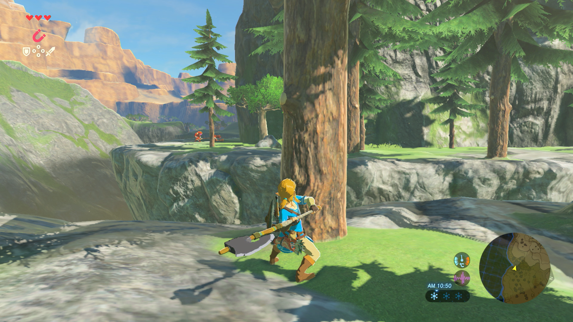 An image of Link from Breath of the Wild swinging a woodcutter's axe, ready to chop down a tree in the game.