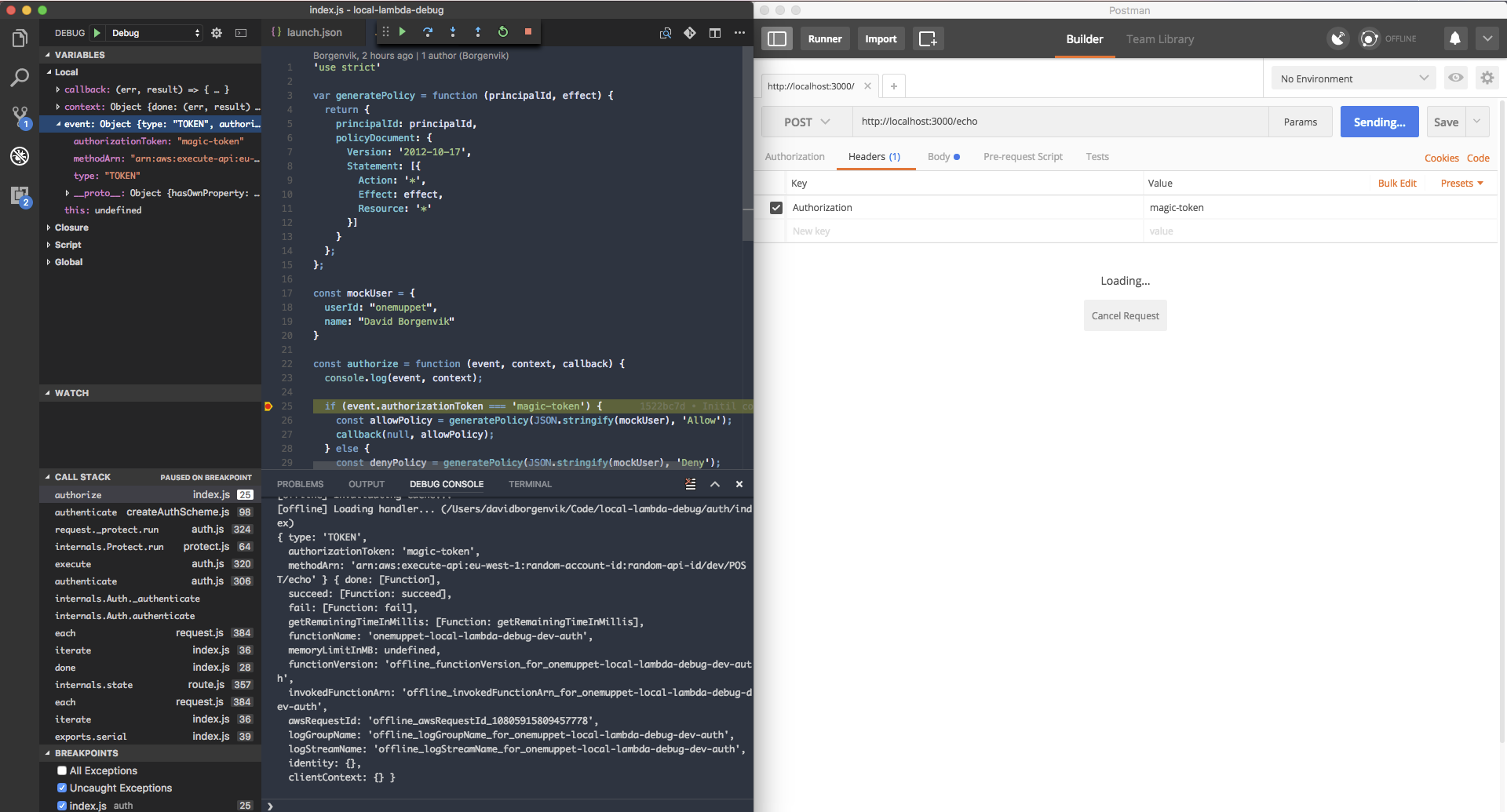 Debugging lambda functions locally in vscode with actual