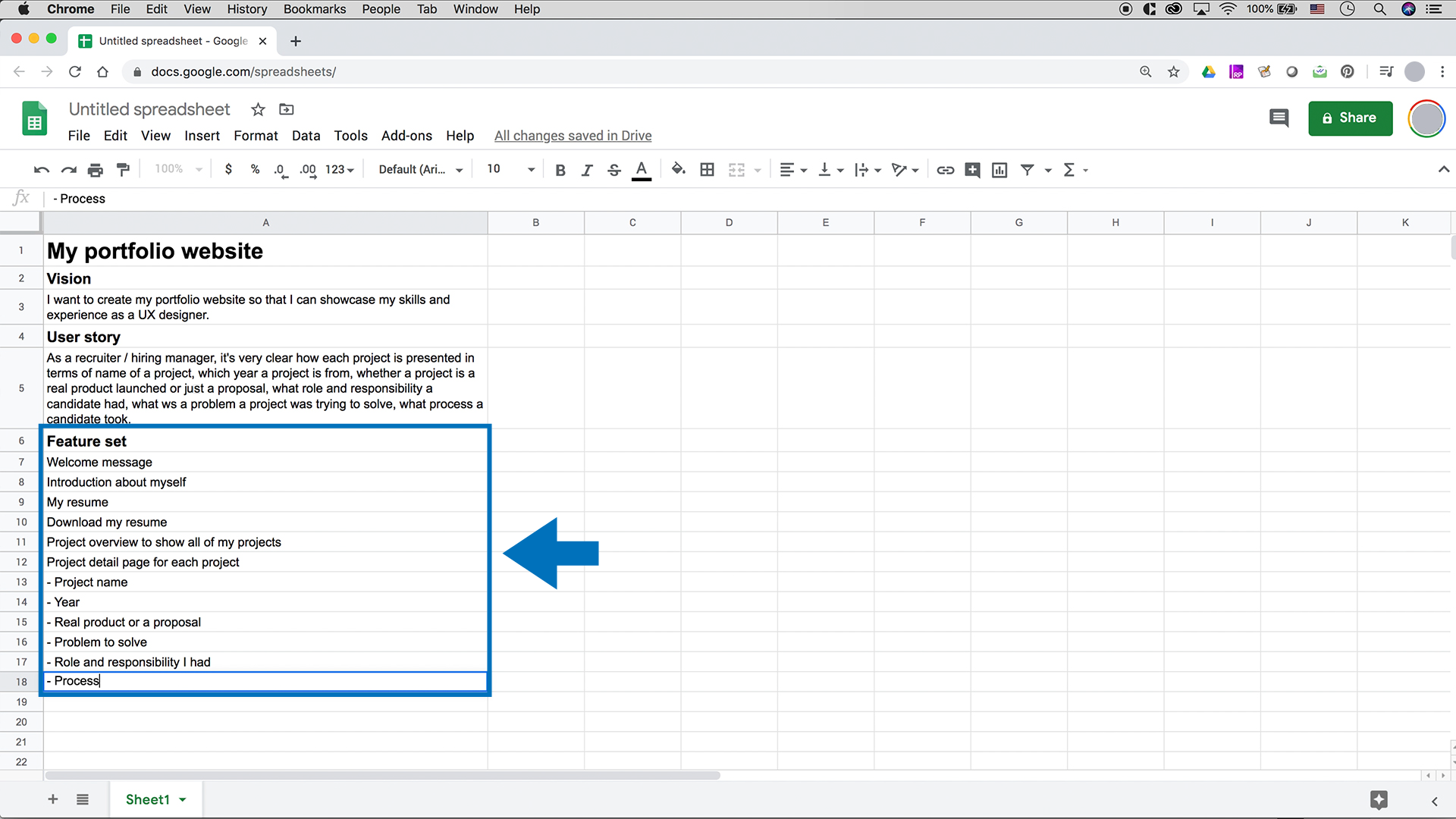 A screenshot of Google Sheets with a vision, a user story, and feature set typed in.