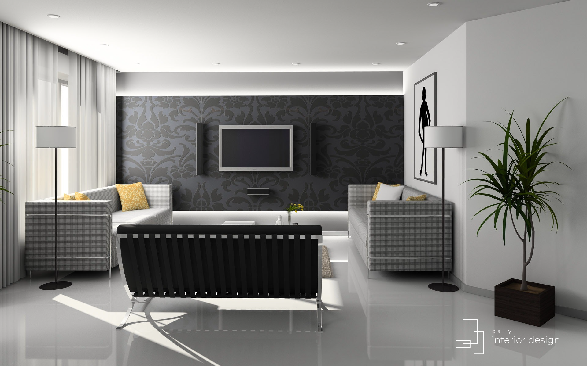 Modern Gray-White-Black Living Room Interior Design Decor ...