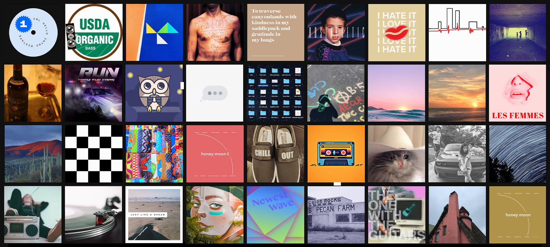 Large grid of thumbnail-size square album covers designed by employees at Indeed to go with their Spotify playlists