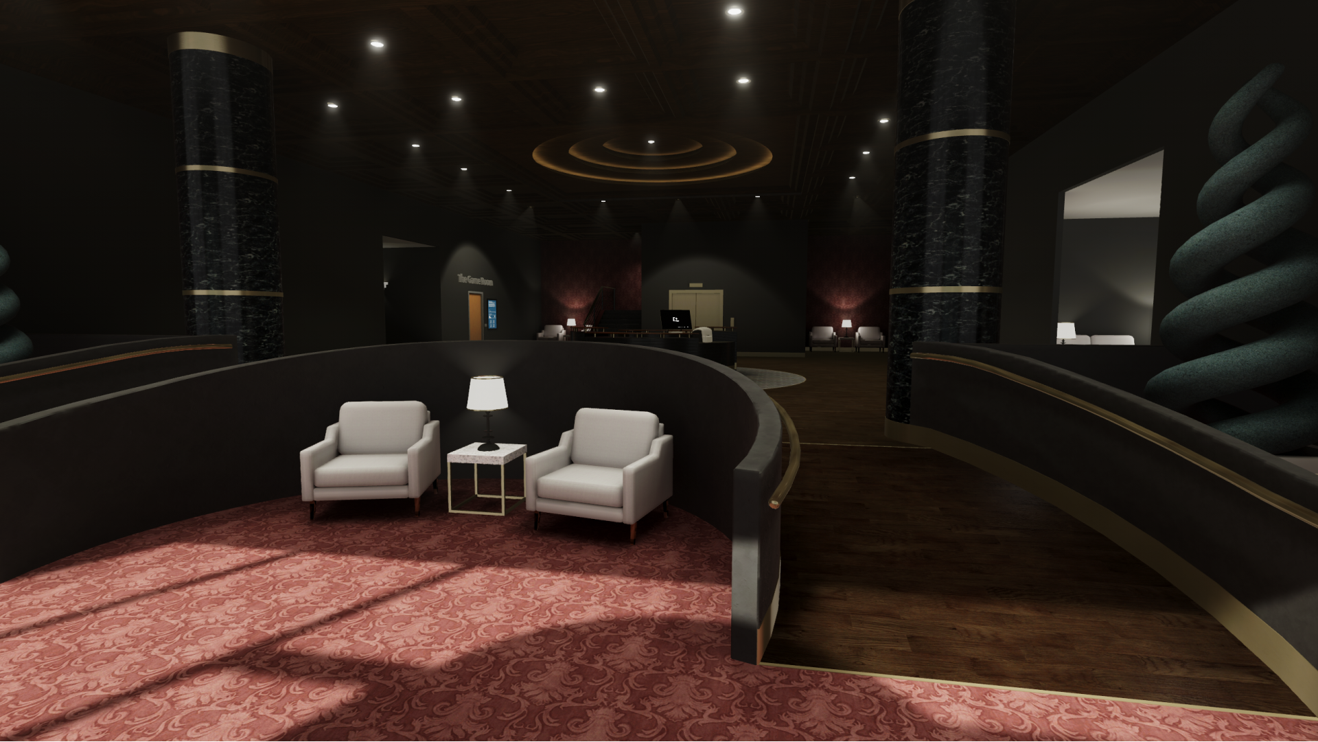 A view of the lobby inside the headquarters of Egression, Inc.