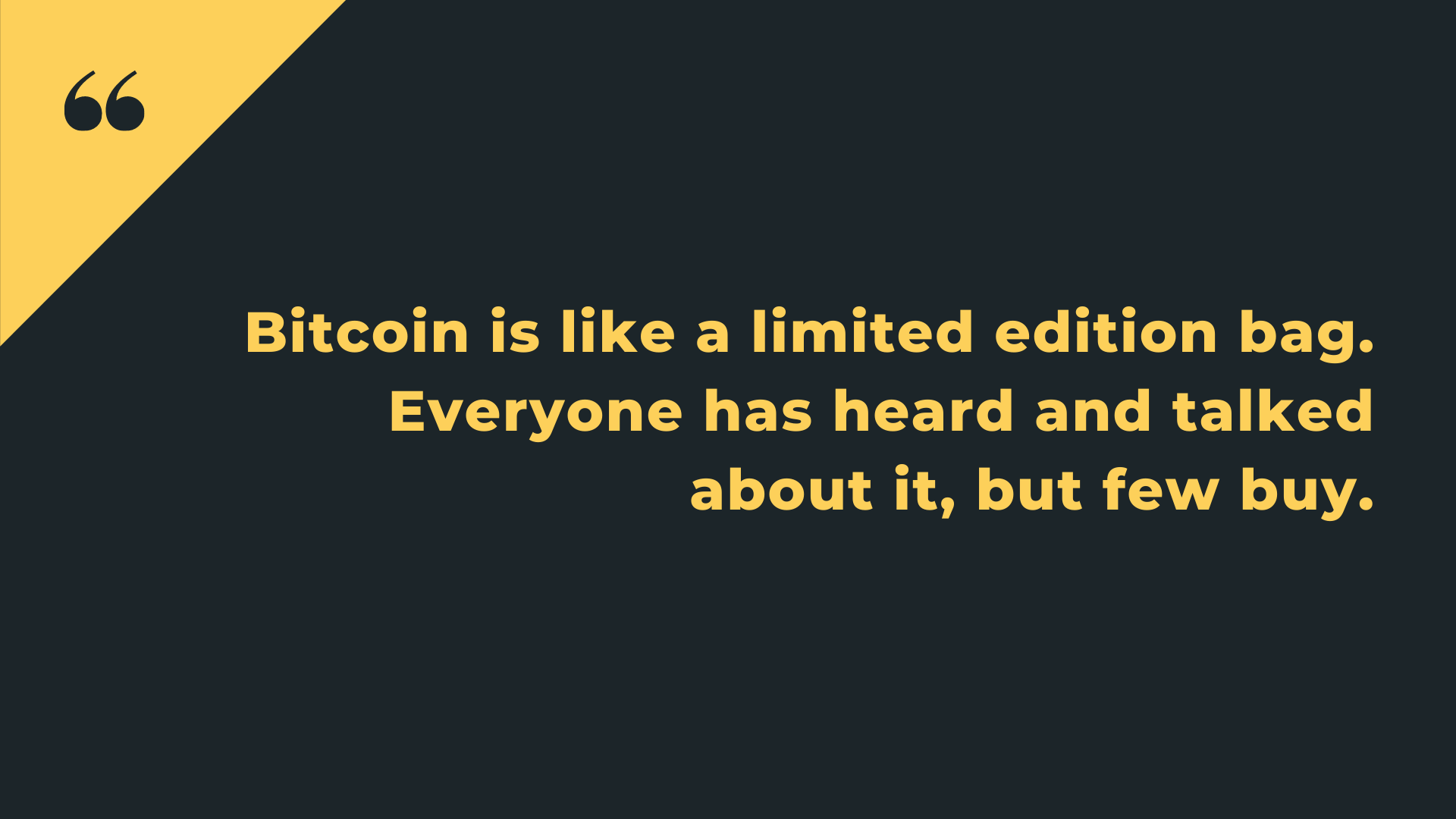 Bitcoin is like a limited edition bag. Everyone has heard and talked about it, but few buy.
