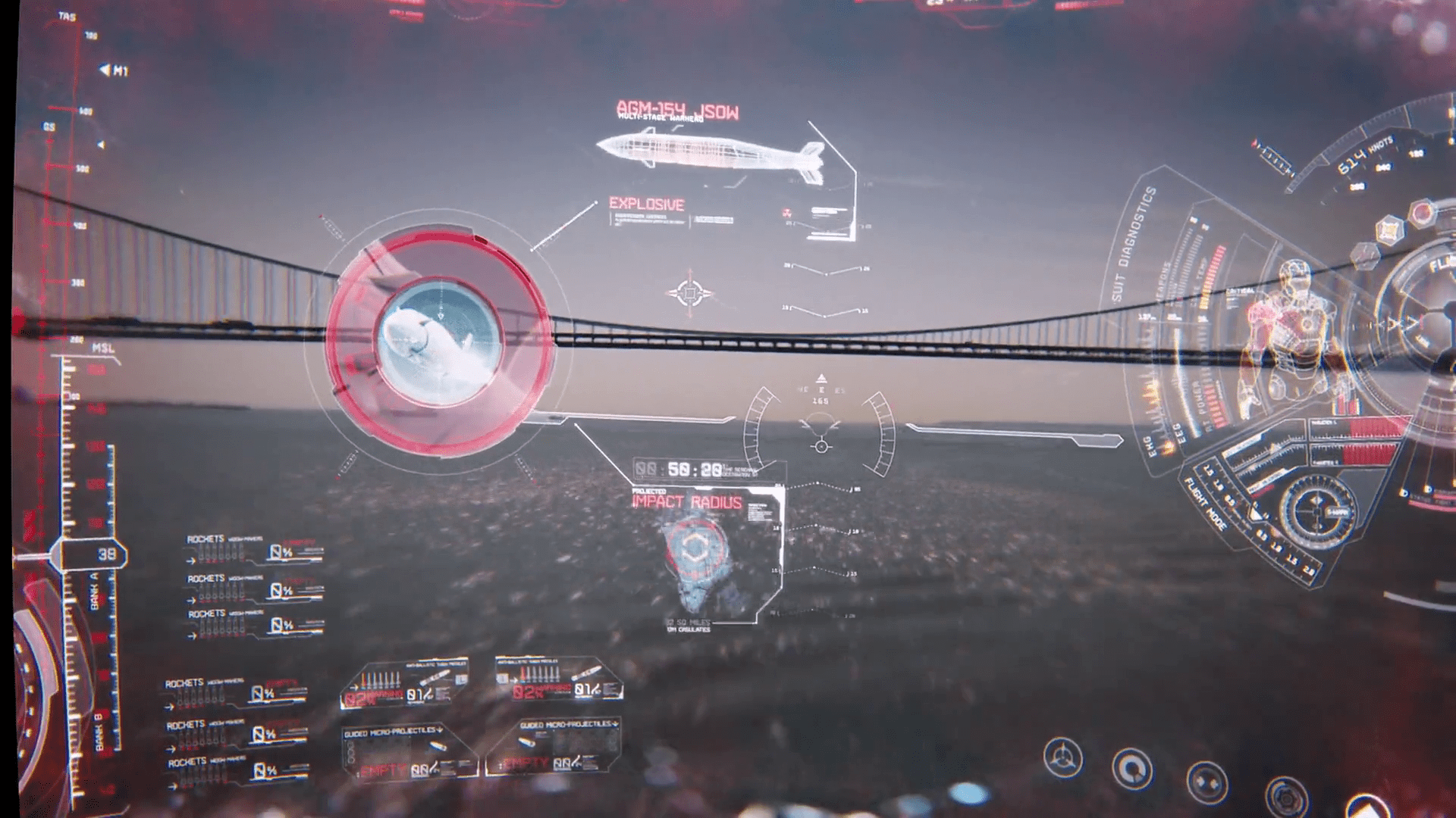iron man assistant—jarvis analysing the missile in air and other environment factors