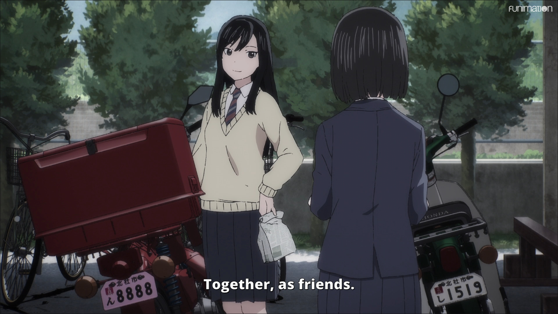 """Reiko discusses how great it is to eat lunch sitting on their bikes, """"Together, as friends."""""""